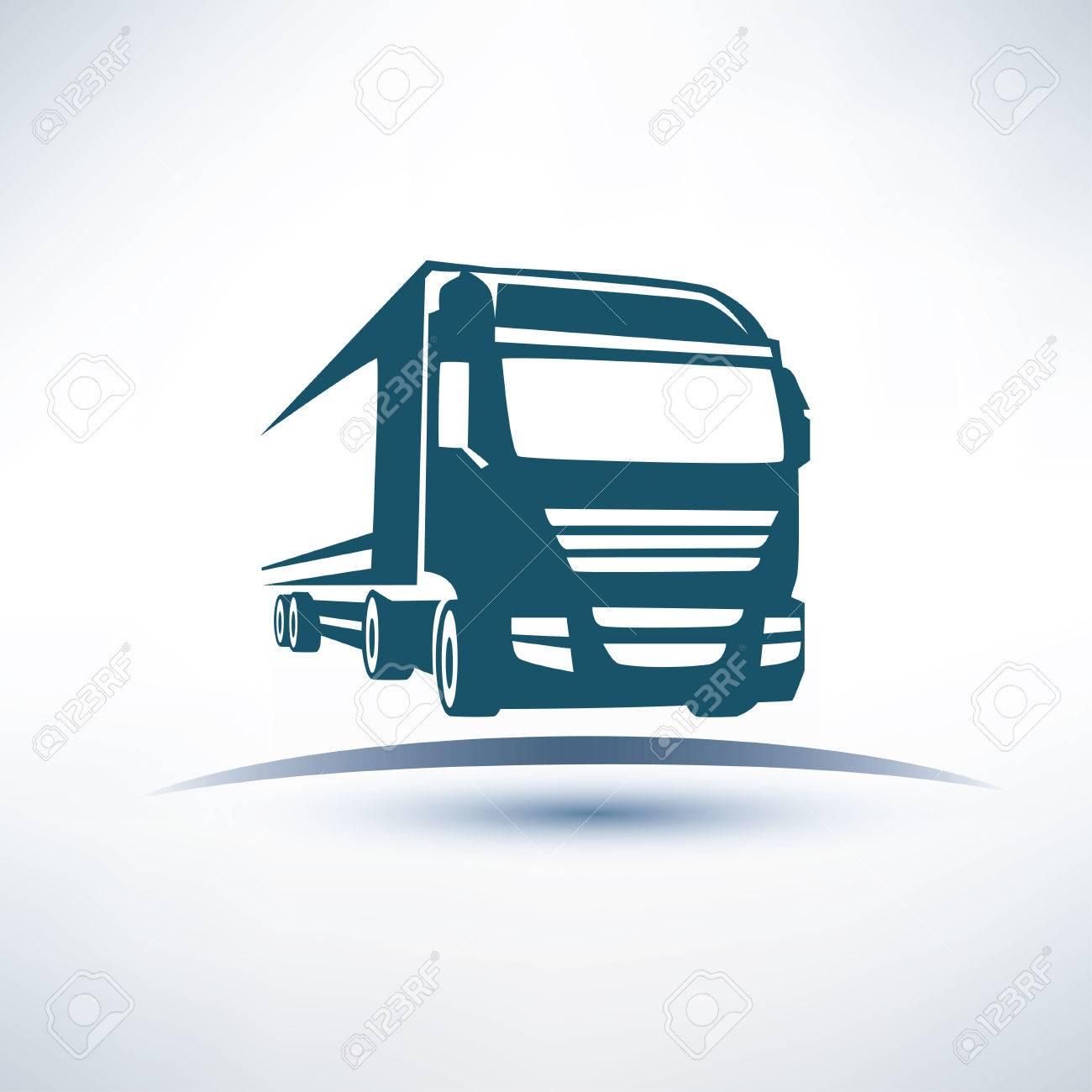 europian truck outlined vector symbol - 31405775