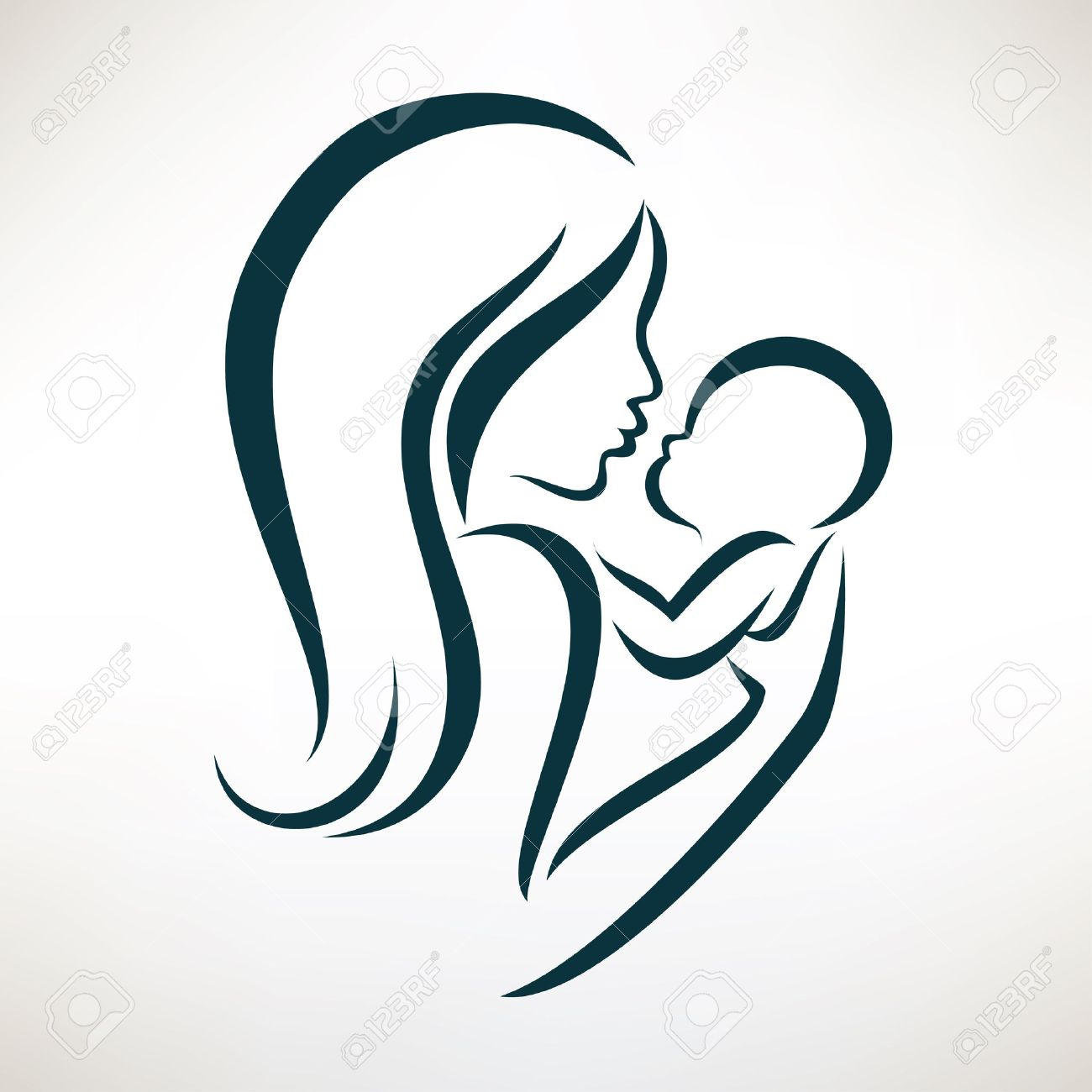 68897 Mother And Baby Cliparts Stock Vector And Royalty Free