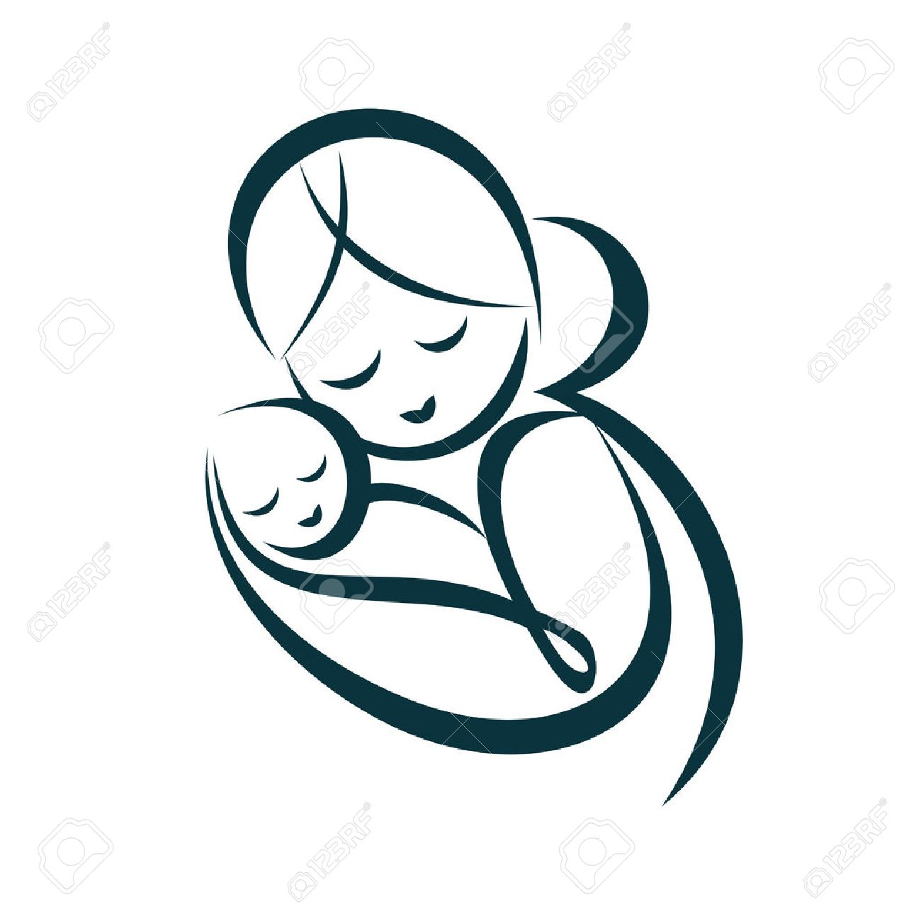 young mom hugs her baby, stylized vector symbol - 33607590