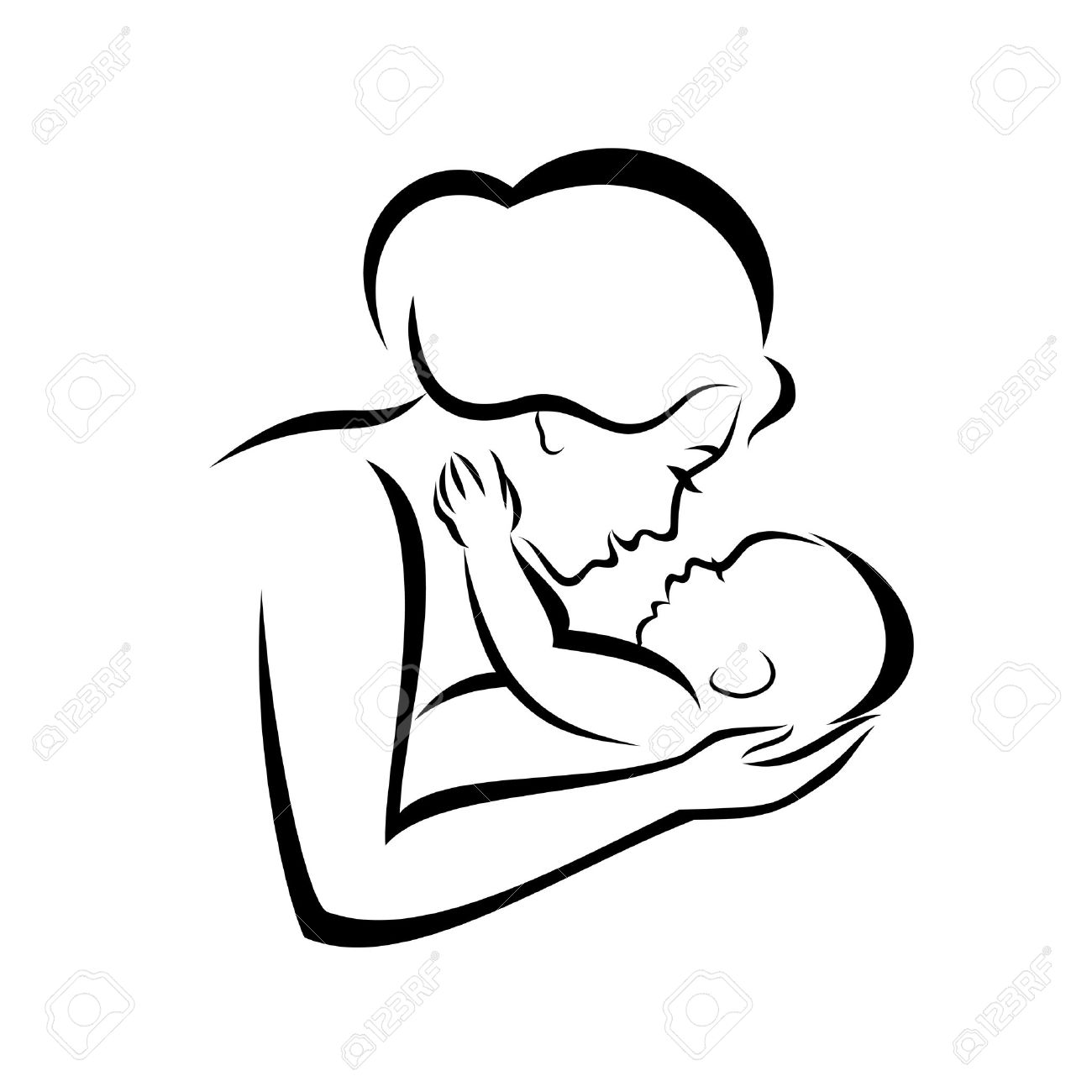 mother and baby stylized vector symbol - 37616422