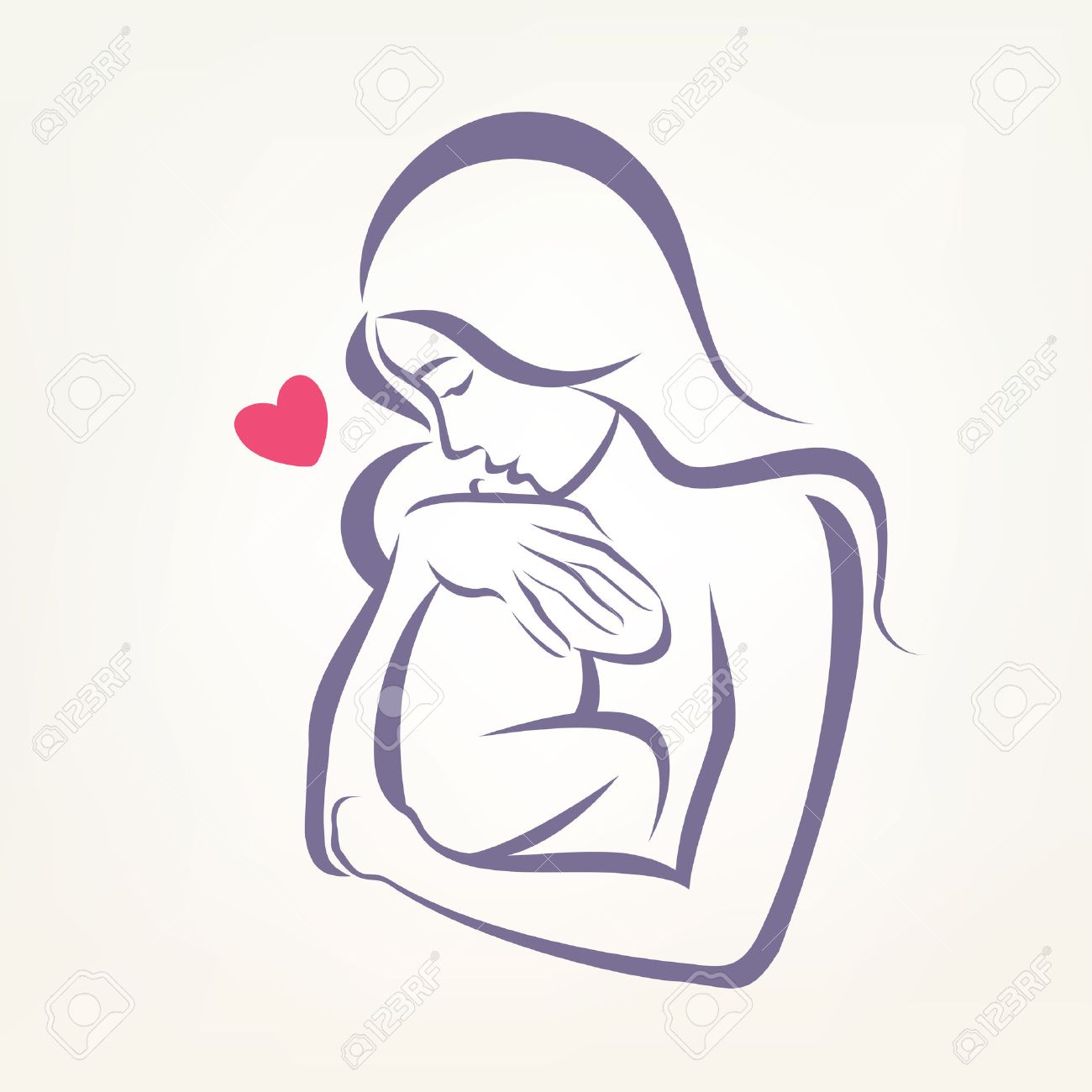 mom and baby stylized symbol, outlined sketch - 38207516