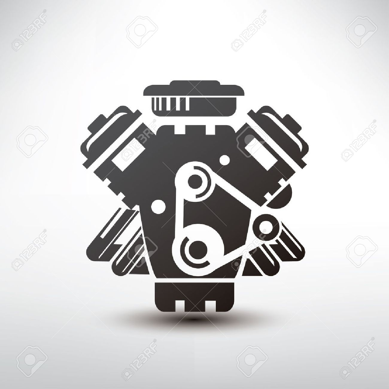 car engine symbol, stylized vector silhouette of automobile motor - 38998739