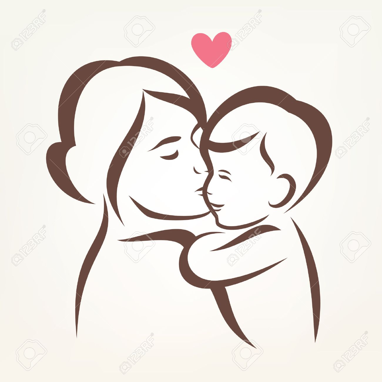 mother and son stylized vector silhouette, outlined sketch of mom and child - 38998743