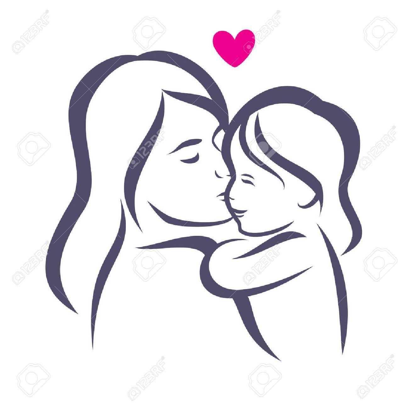 Boceto Madre E Hija Estilizada Silueta Vector Esbozado De La Mamá Y