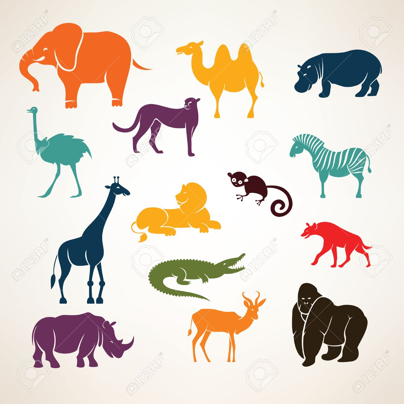 african animals stylized vector silhouettes Stock Vector - 40910210