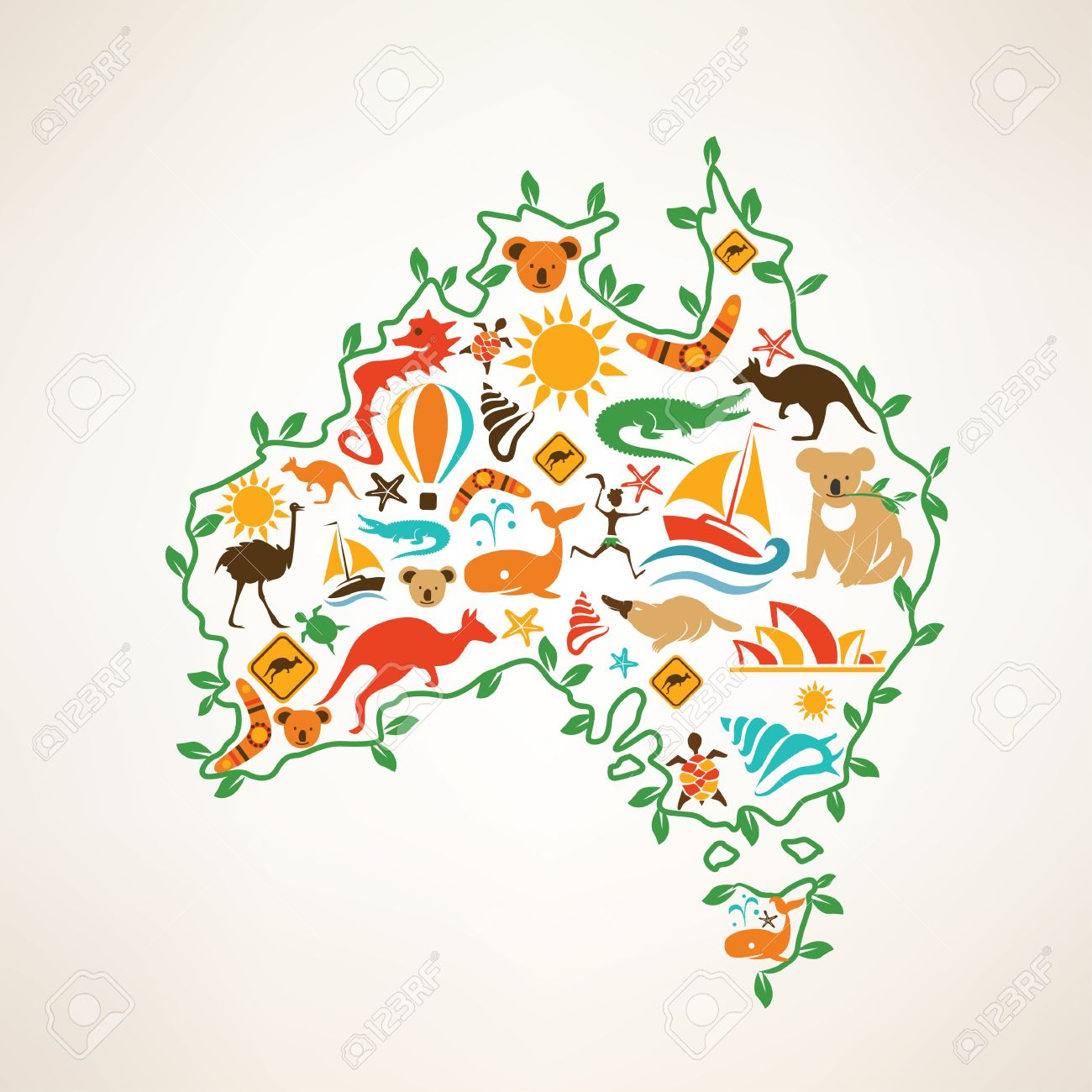 Australia Travel Map Decrative Symbol Of Australia Continent – Travel Map of Australia