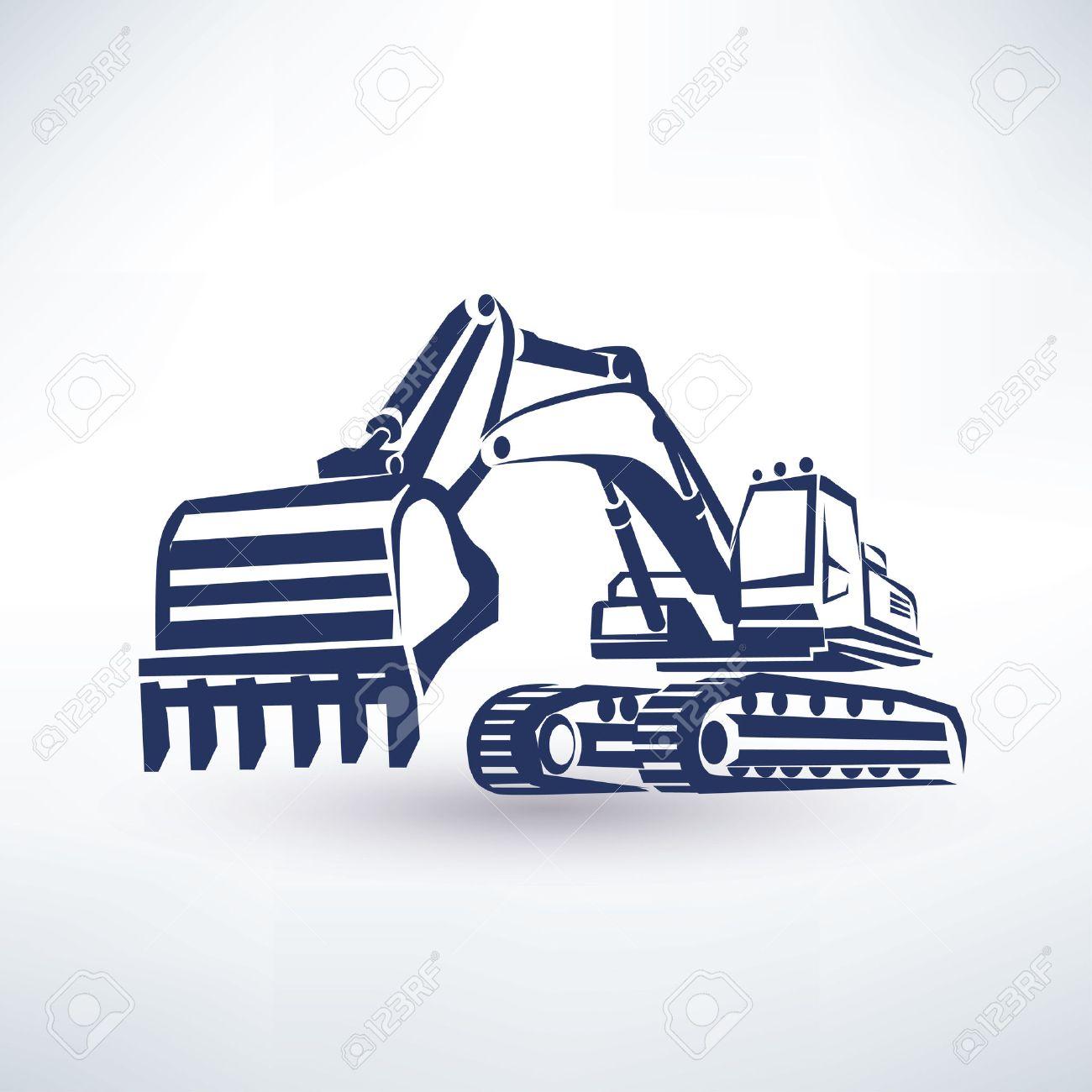 excavator symbol, stylized vector silhouette - 45349646