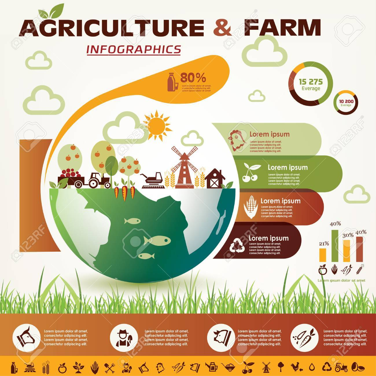 agriculture and farming infographics, vector icons collection - 45333789