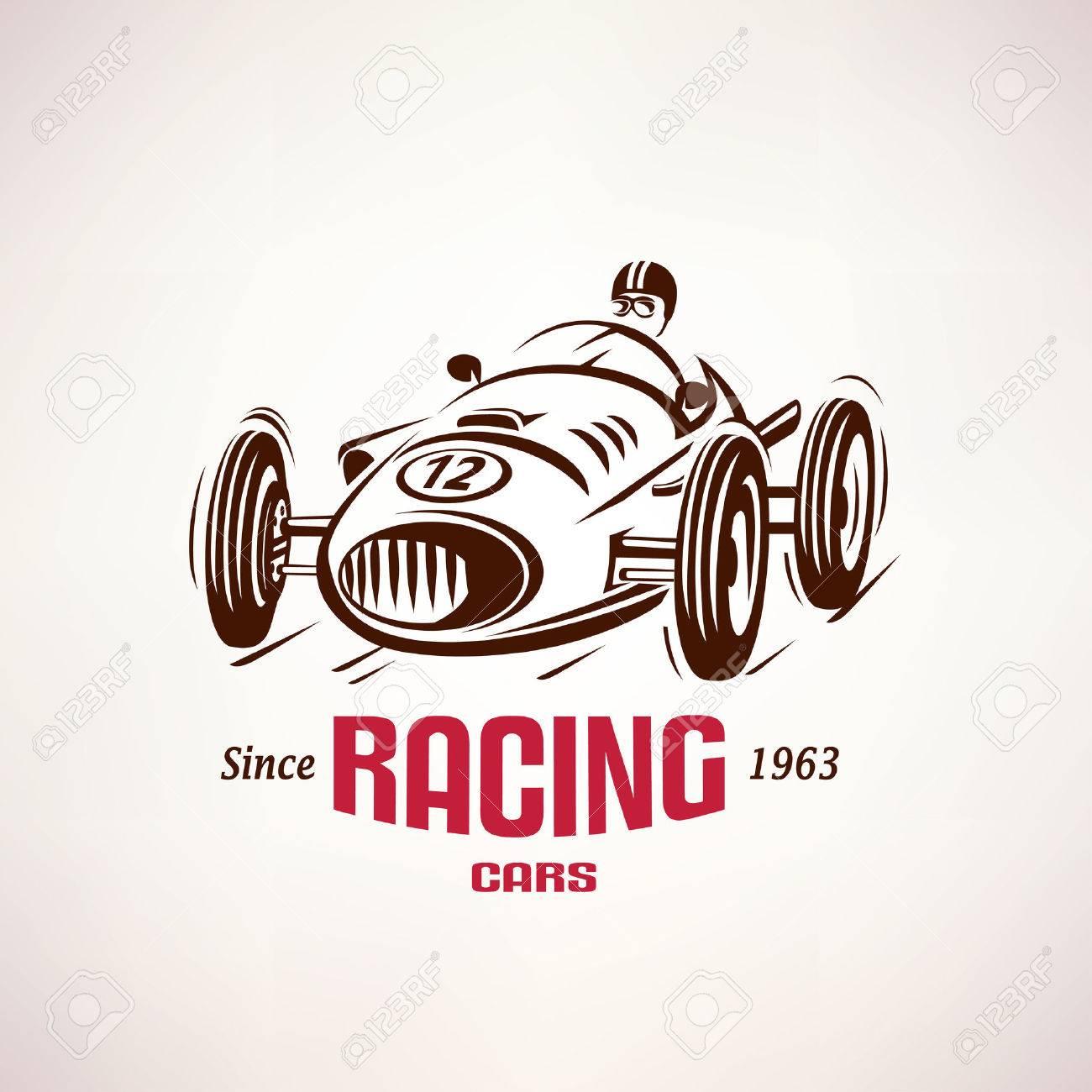 Retro Race Car Vintage Vector Symbol Emblem Label Template Royalty Free Cliparts Vectors And Stock Illustration Image 45333801