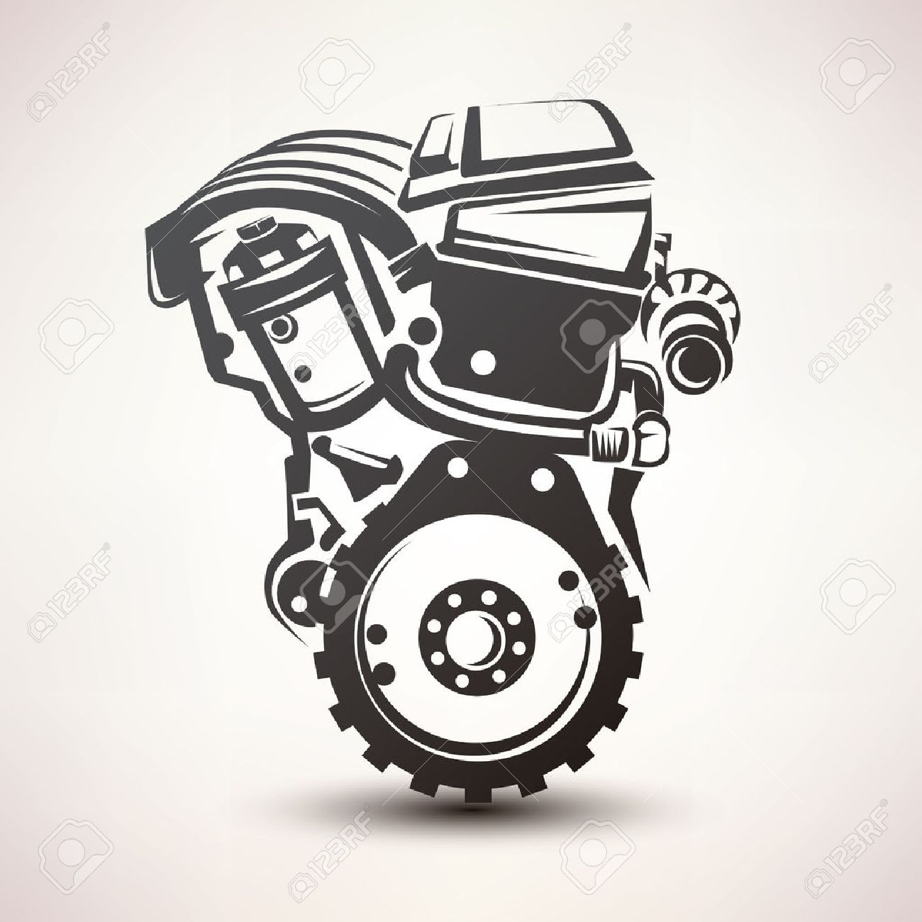 engine car symbol, stylized vector silhouette icon - 45333830