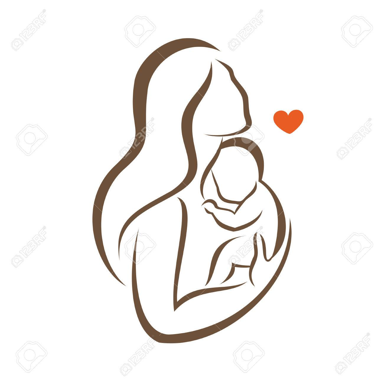 Mother and baby stylized vector silhouette outlined sketch of mom and child stock vector