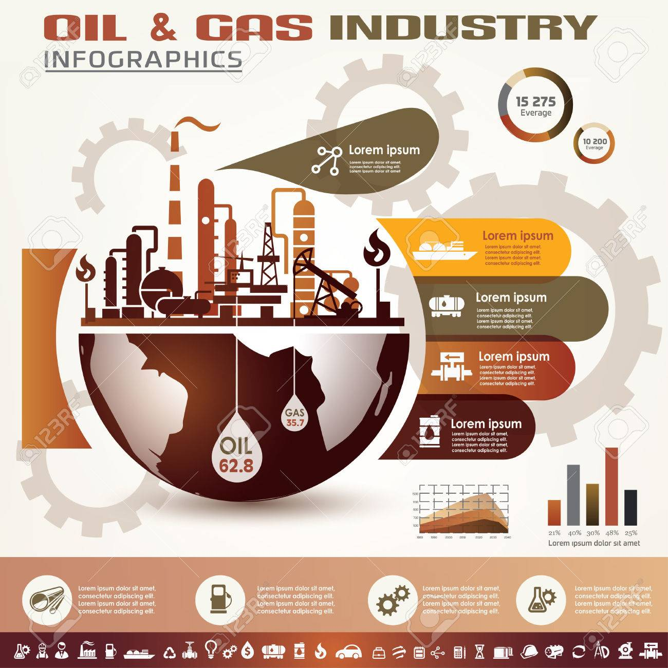oil and gas industry infographics, extraction, processing and trasportation - 45333836