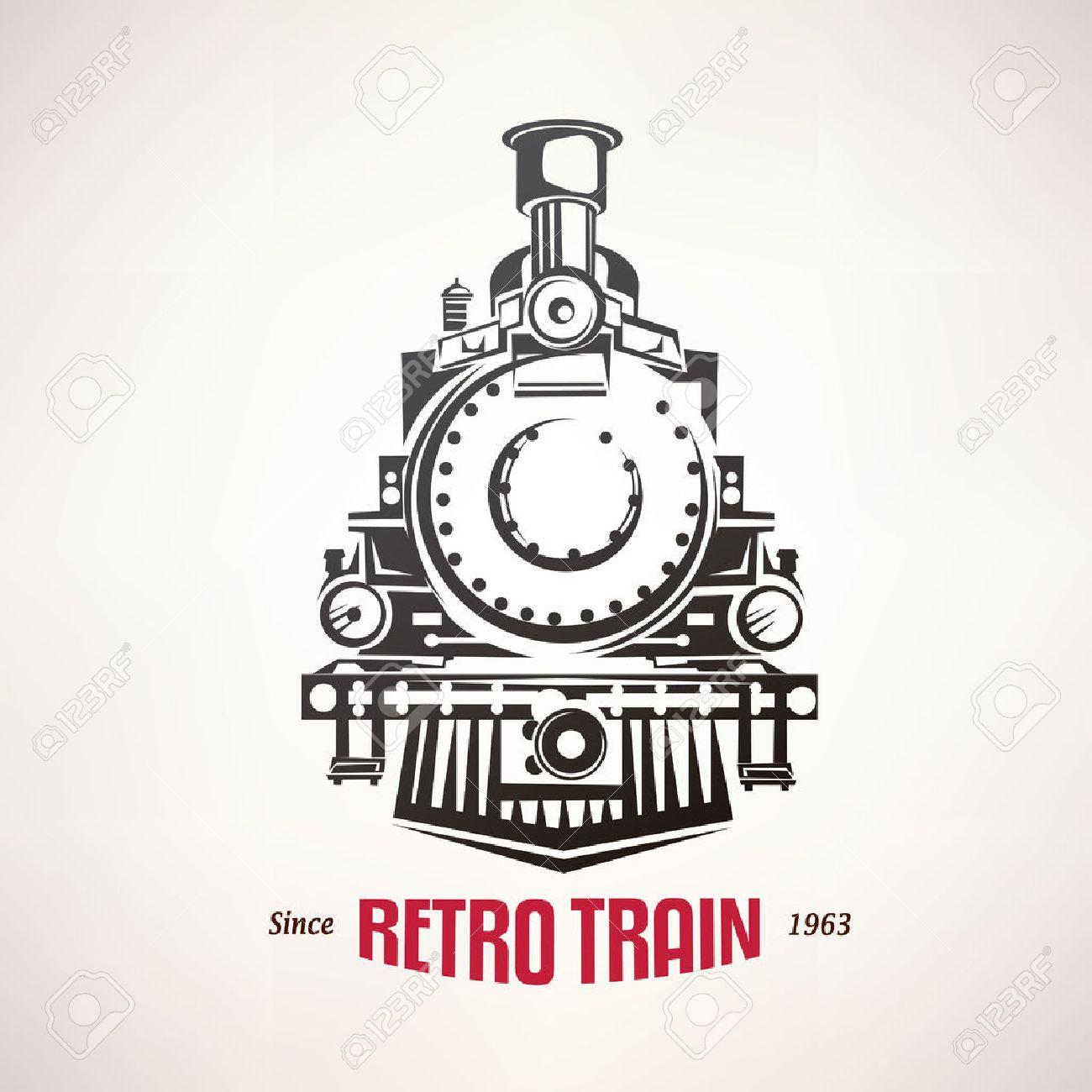 Tren Retro, Símbolo Vector Vendimia, Emblema, Plantilla De Etiqueta ...
