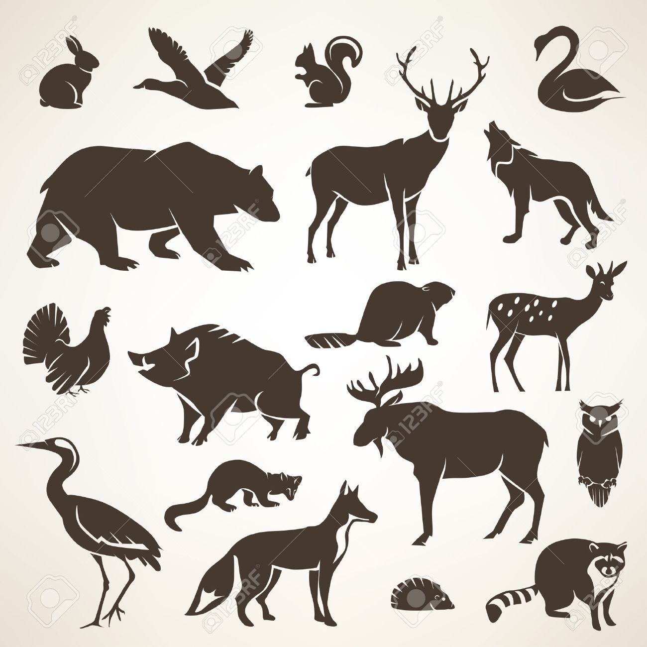 european forrest wild animals collection of stylized vector silhouettes Stock Vector - 48177145