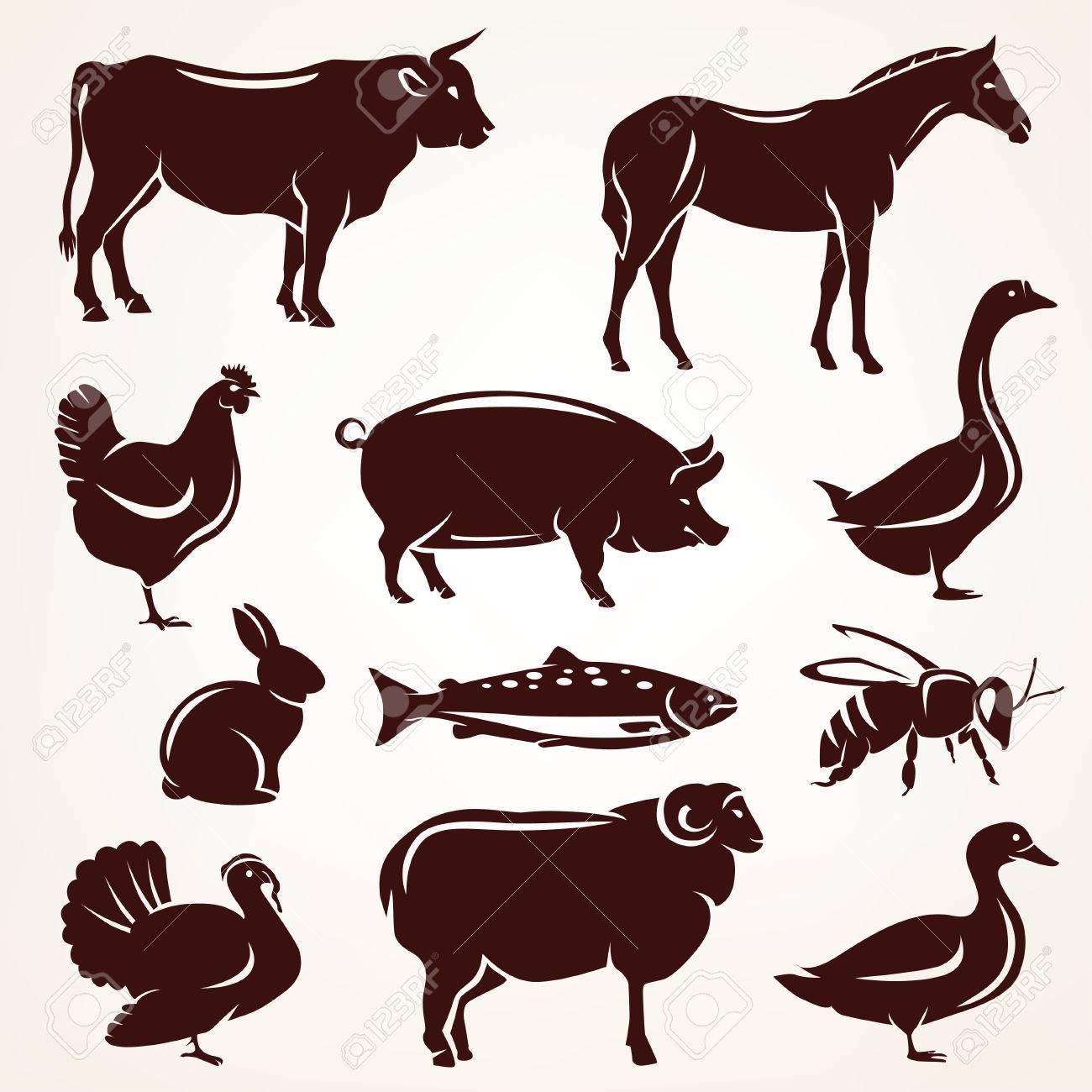 farm animals silhouette collection Stock Vector - 49211835