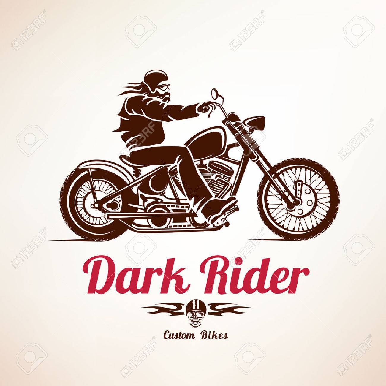 biker, motorcycle grunge vector silhouette, retro emblem and label - 50926408