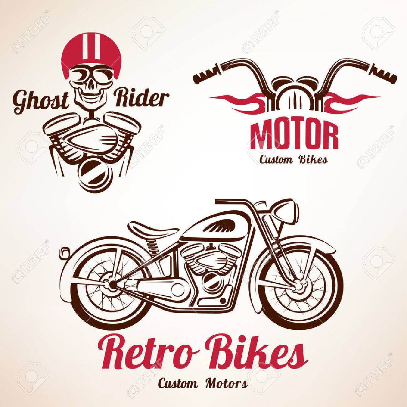 motorbikes emblems and labels set, retro motorcycle - 50926411