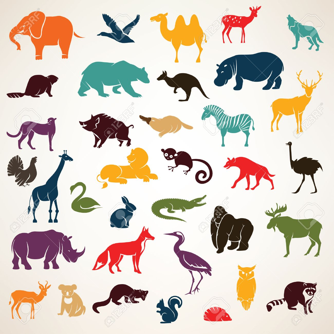 big set of african and european animals silhouettes in cartoon style Stock Vector - 50926409
