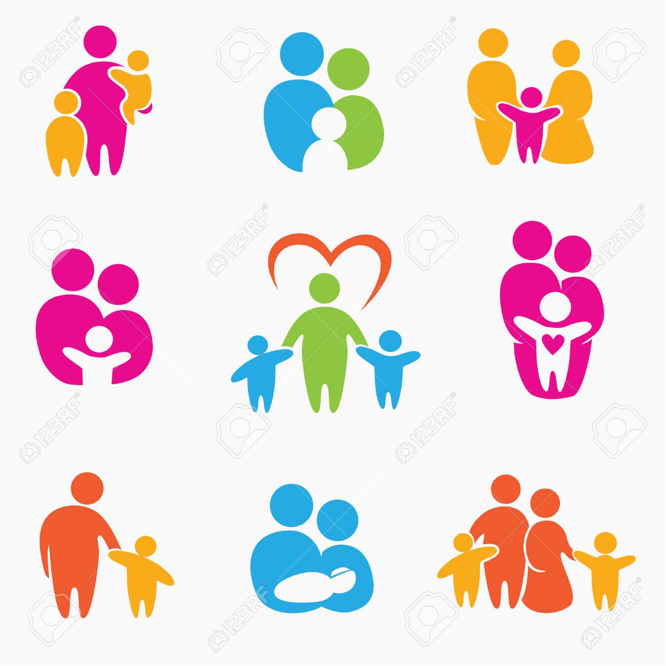 happy family icons, symbols collection - 54024628