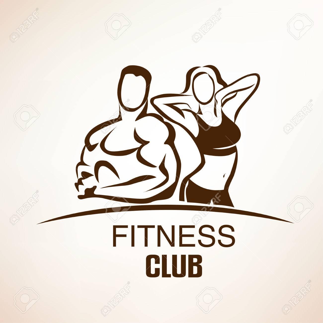 fitness symbol, outlined sketch, emblem or label template - 54024623