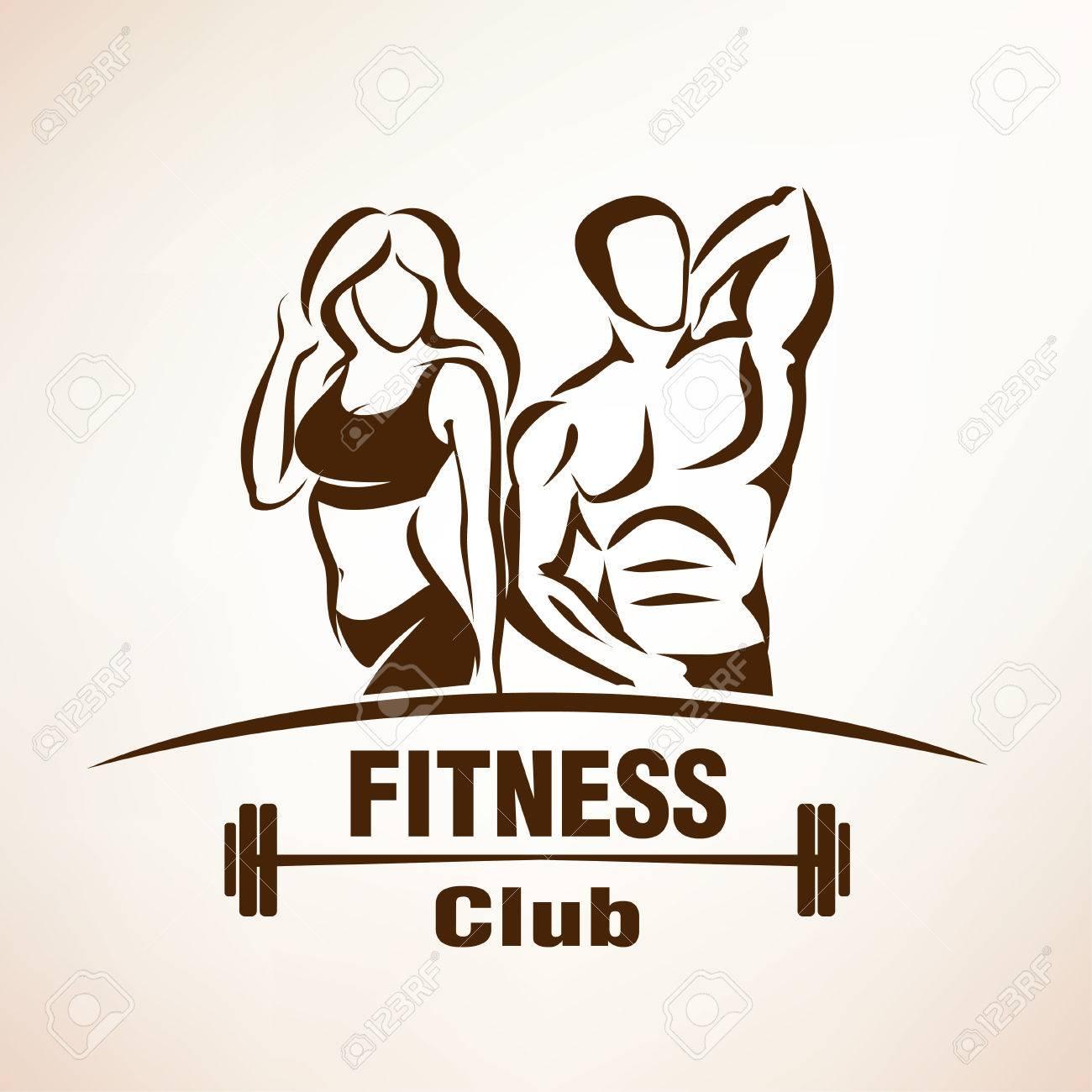 Símbolo De Fitness, Boceto Esbozado, Emblema O Plantilla De Etiqueta ...