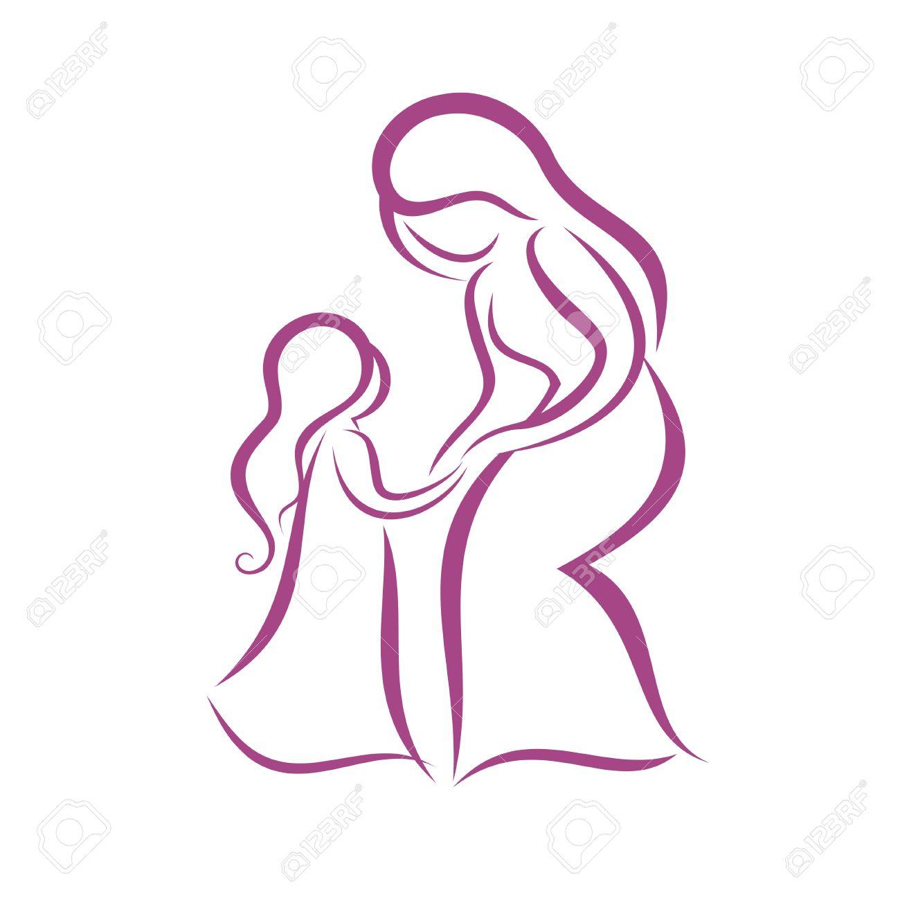 Madre E Hija Símbolo Vector Ilustraciones Vectoriales Clip Art
