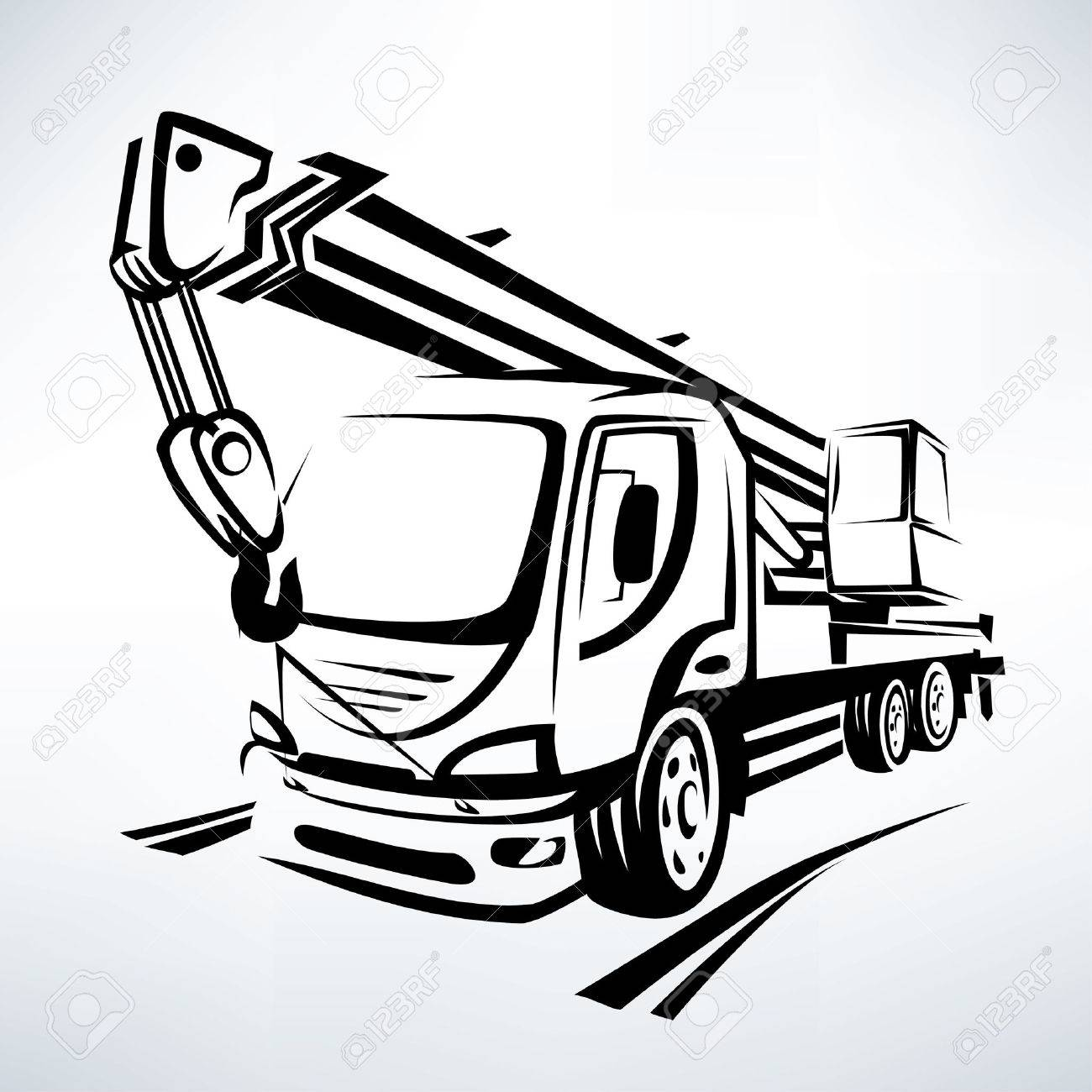 auto crane isolated vector symbol, stylized sketch - 59991261