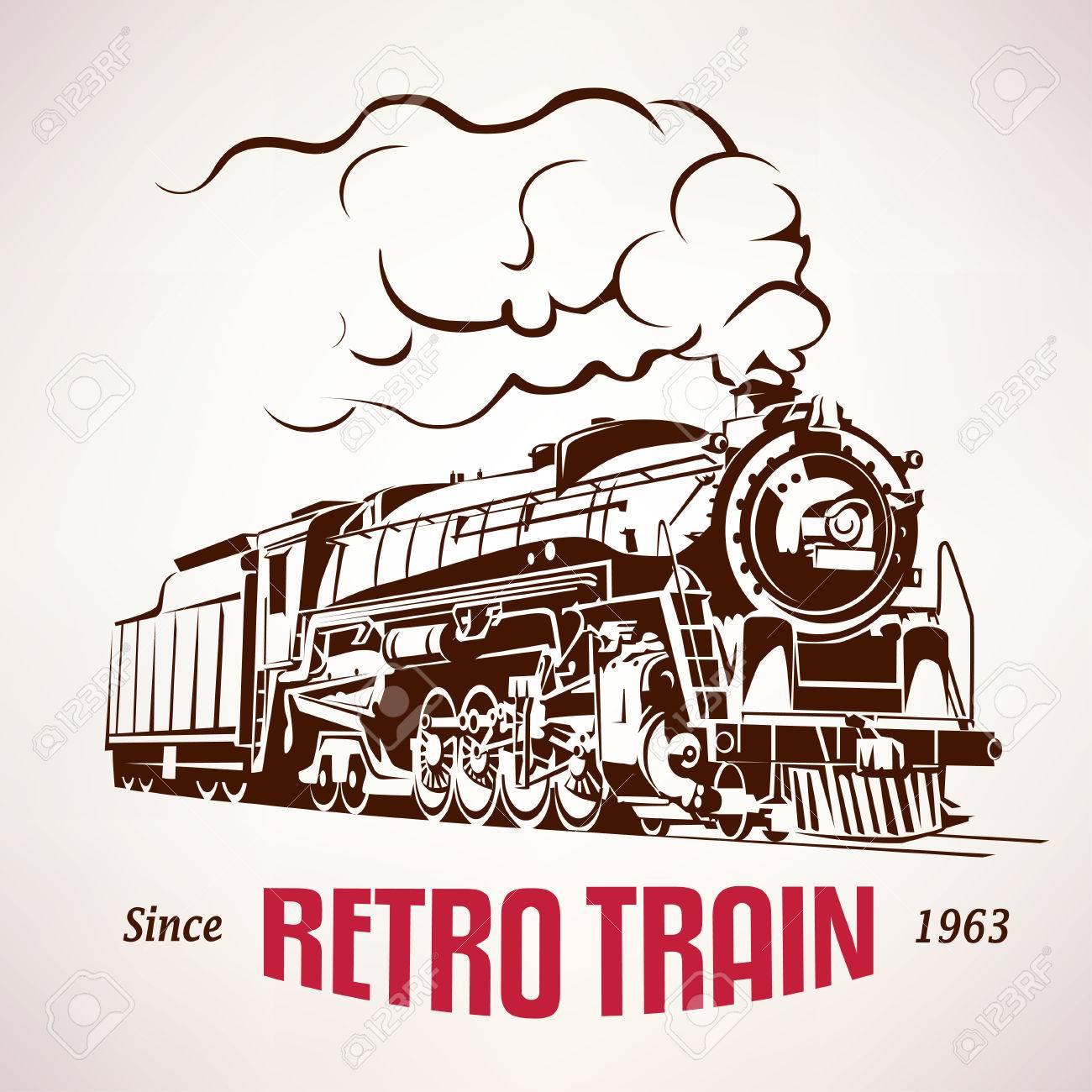 retro train, vintage symbol, emblem, label template - 62263134
