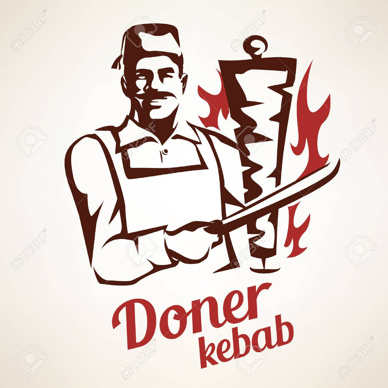 asian chef preparing doner kebab illustration, outlined symbol in vintage style, emblems and labels template - 64538828