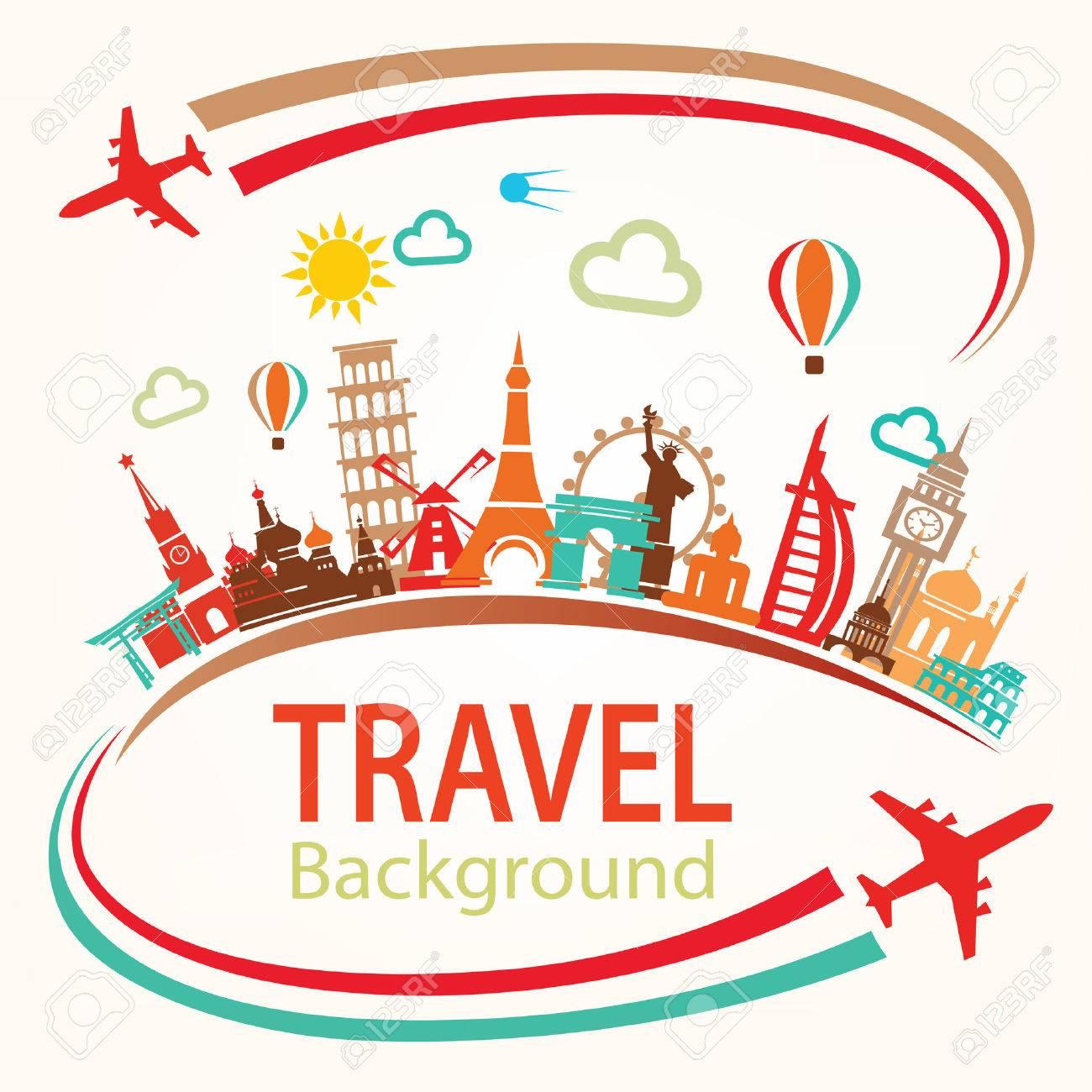 world travel, landmarks silhouettes icons set - 64538835