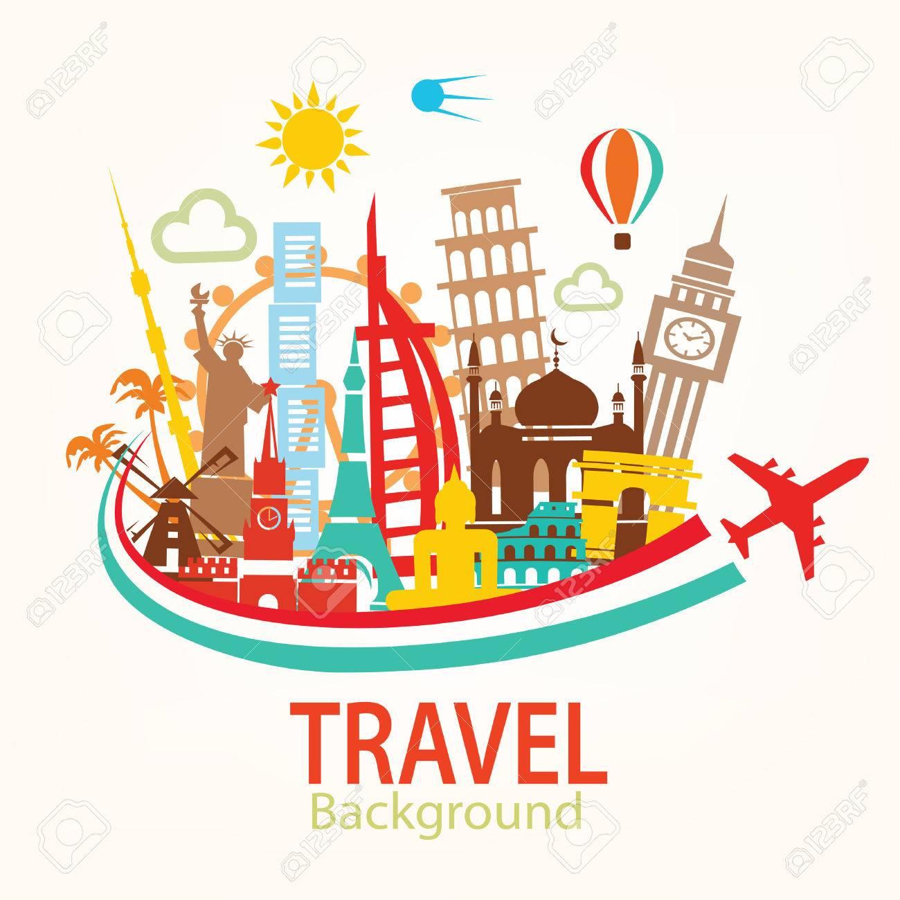 world travel, landmarks silhouettes icons set - 64538953