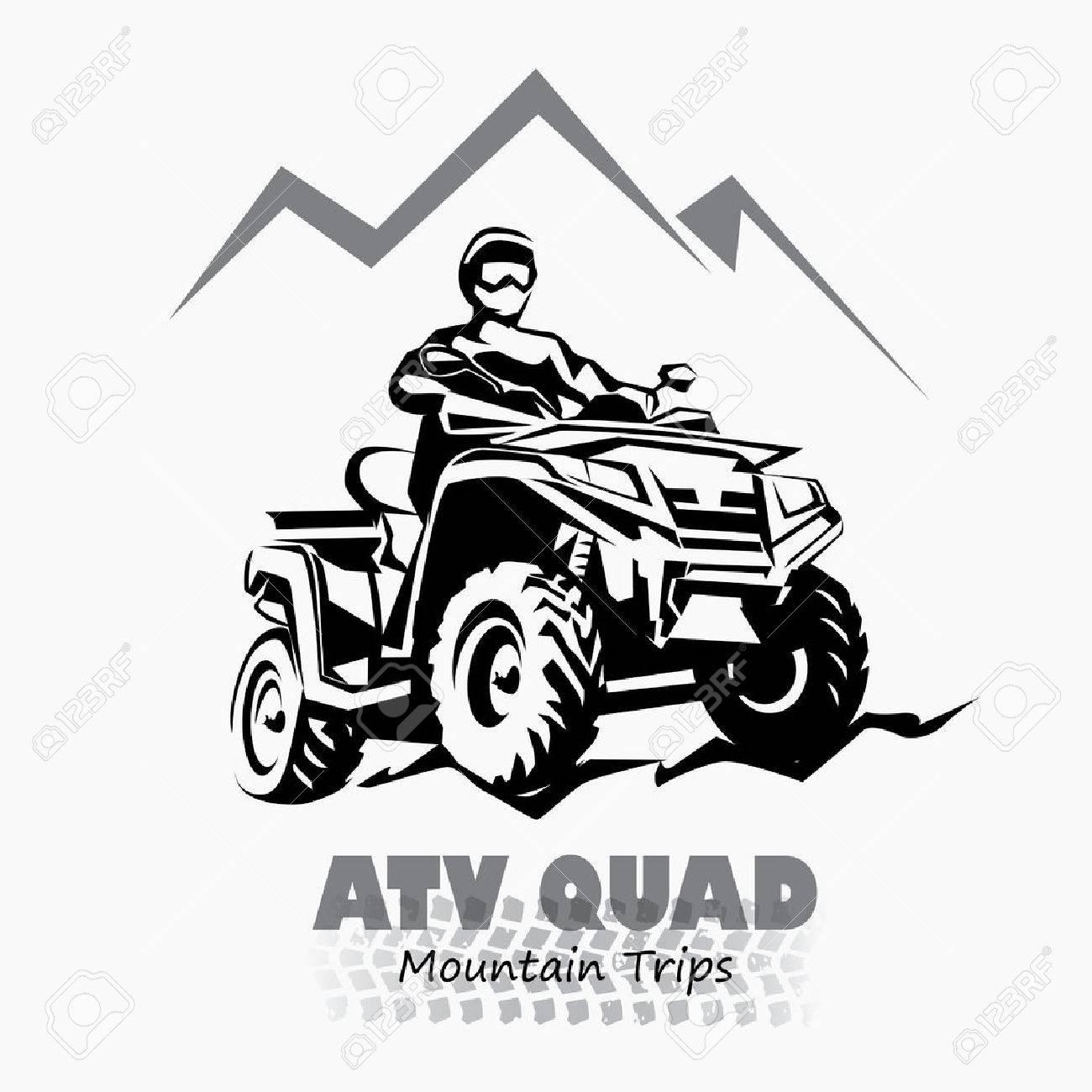 atv, quad bike stylized silhouette vector symbol, design element for emblem - 64538963