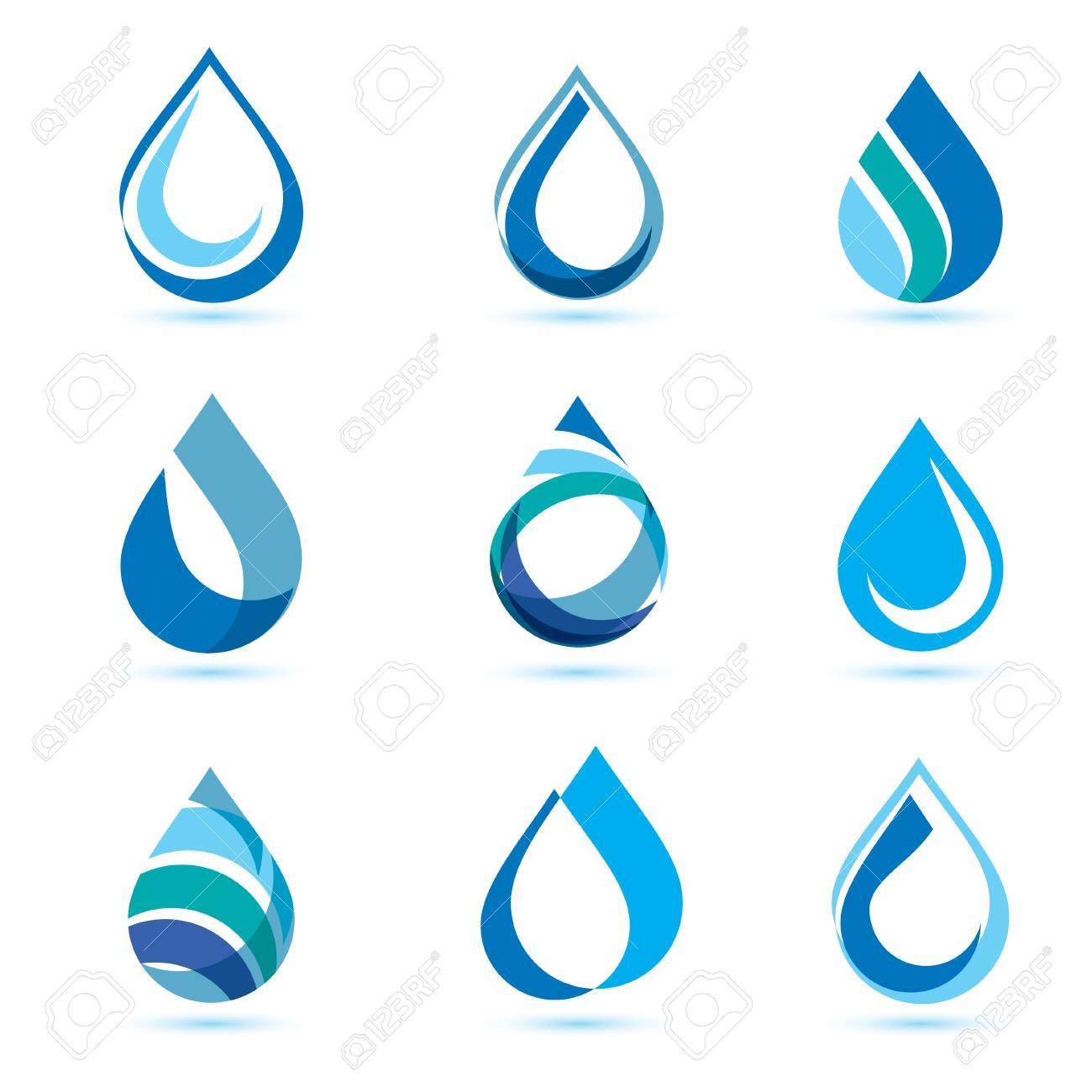 set of abstract blue water drops symbols, logo template - 68890597