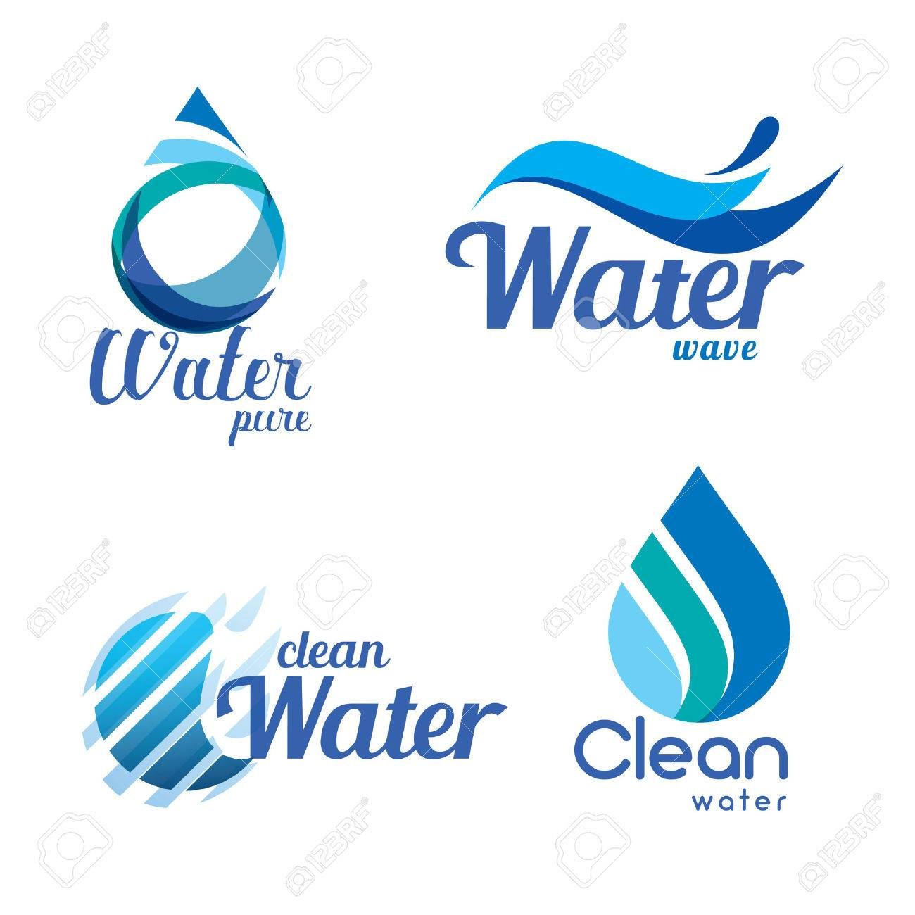 set of abstract blue symbols, water drops and wave logo template - 68890598
