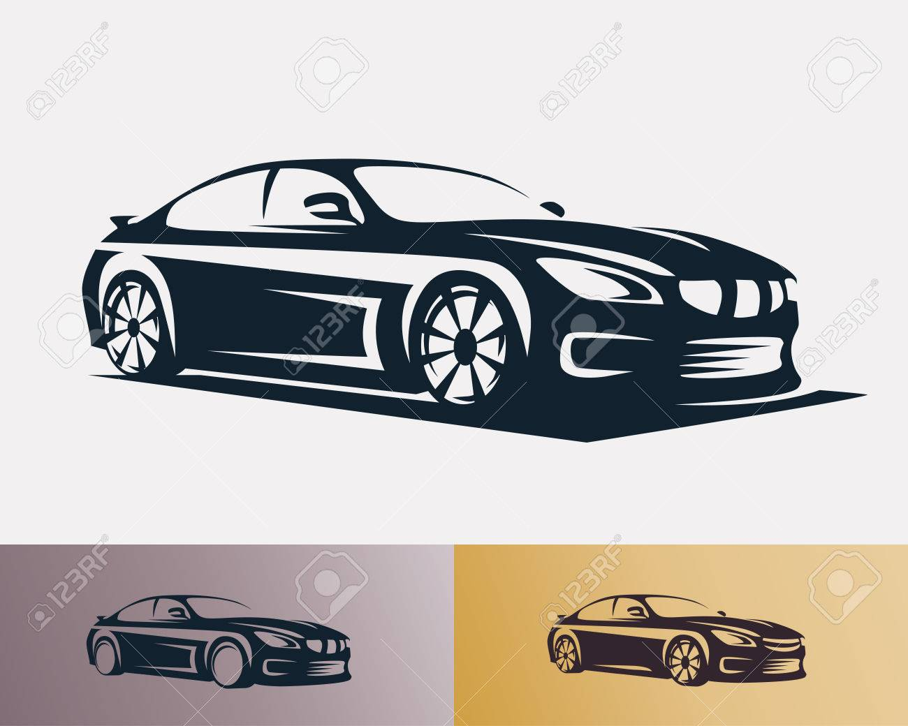 Race car symbol template, stylized vector silhouette