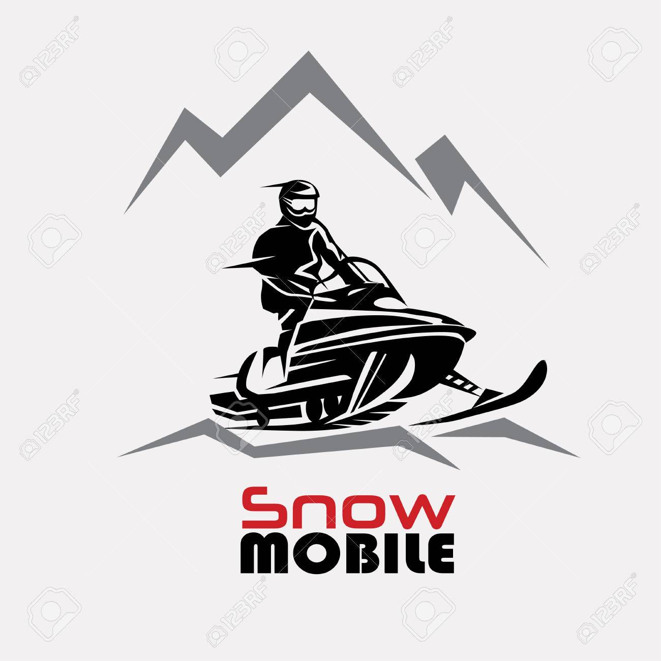snowmobile logo template, stylized vector symbol - 69262447