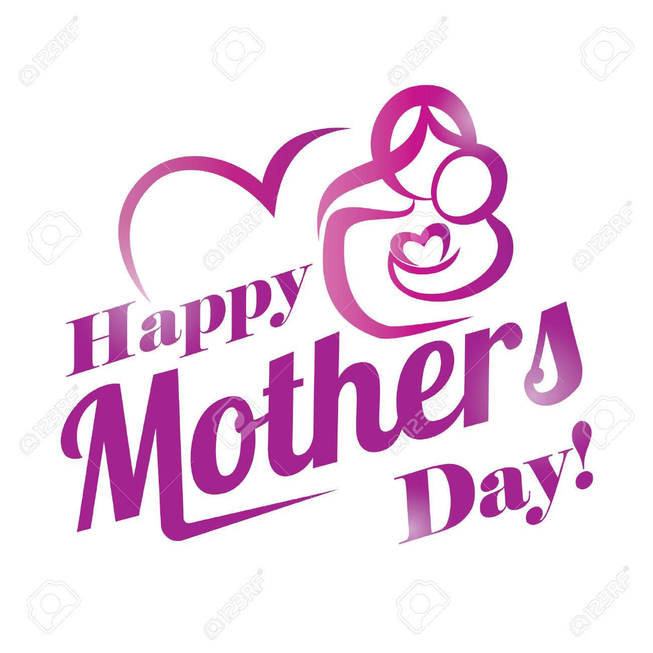 Happy Mothers Day Greeting Card Template Stylized Symbol Of Mom And Baby Stock Vector