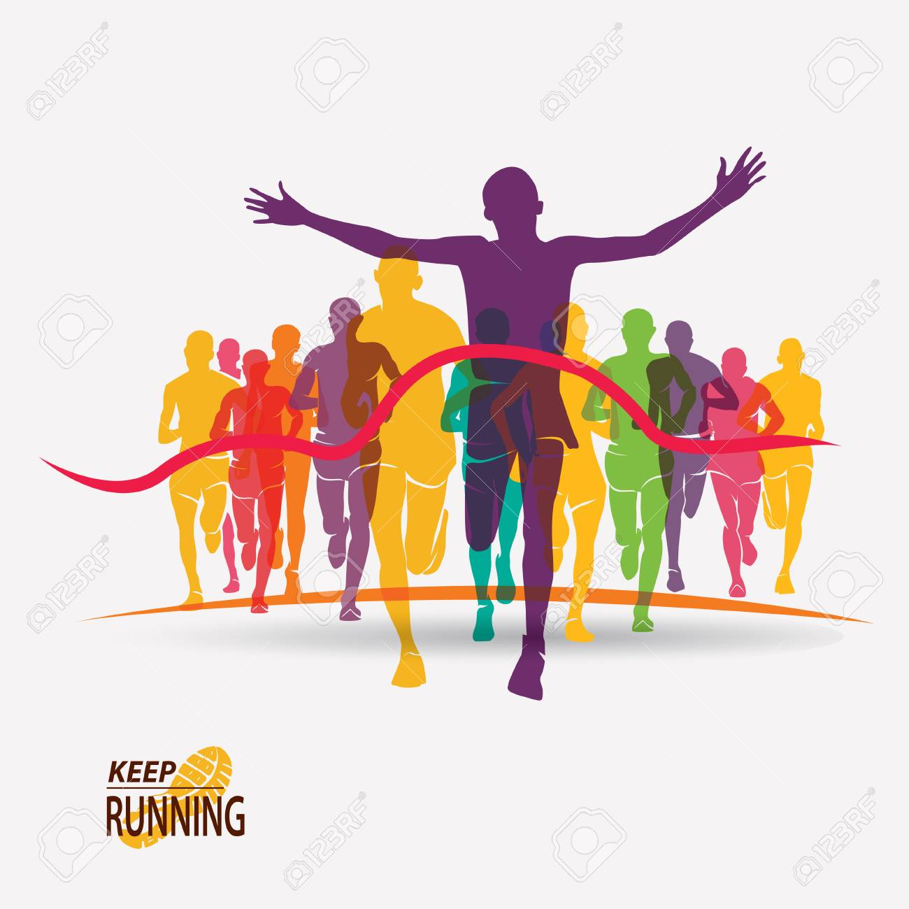 running people set of silhouettes, competition and finish - 70453975