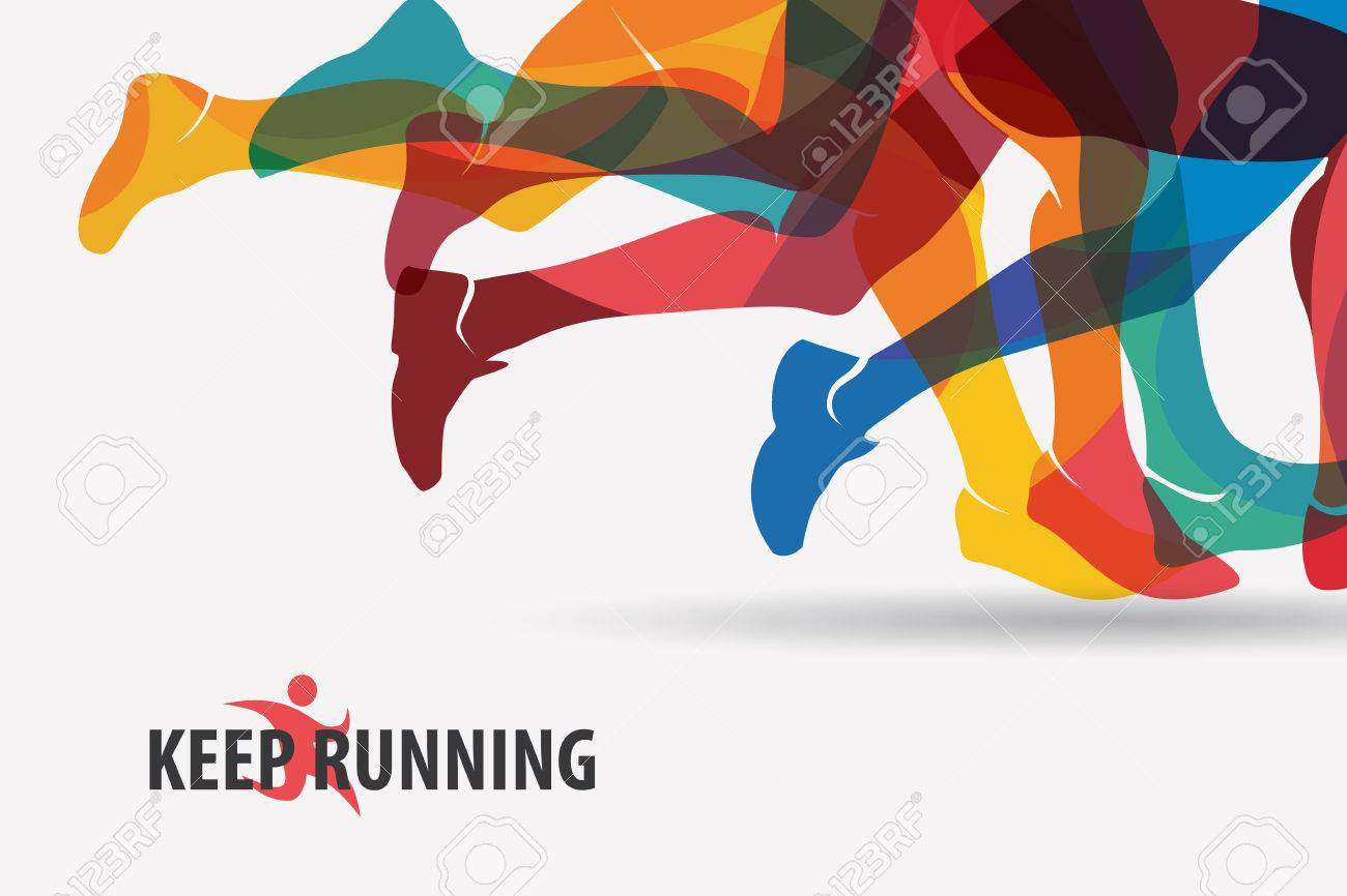 running people set of silhouettes, sport and activity background - 70453991