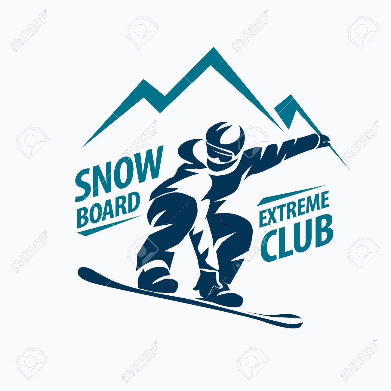 snowboarding stylized symbol, vector silhouette, logo or emblem template - 70454004