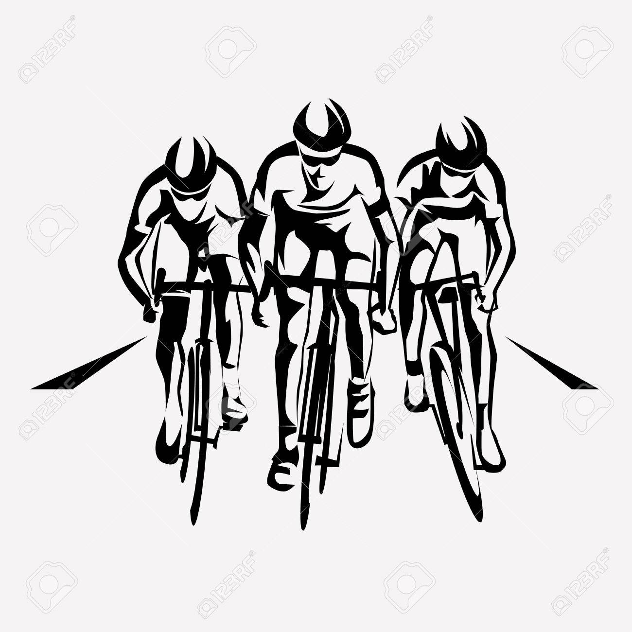 cycling race stylized symbol, outlined cyclist vector silhouettes - 70454007