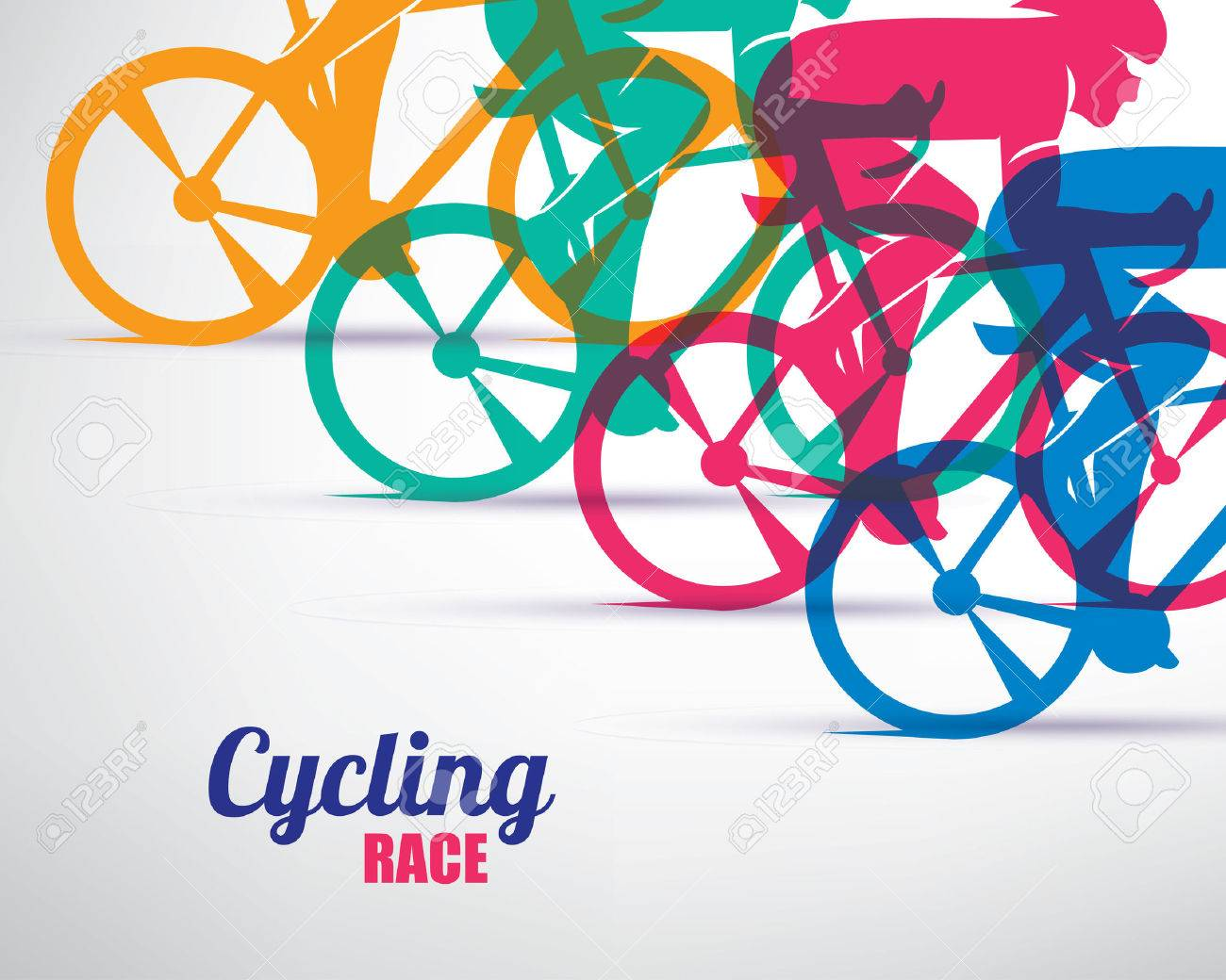 cycling race stylized background, cyclist vector silhouettes - 70454008