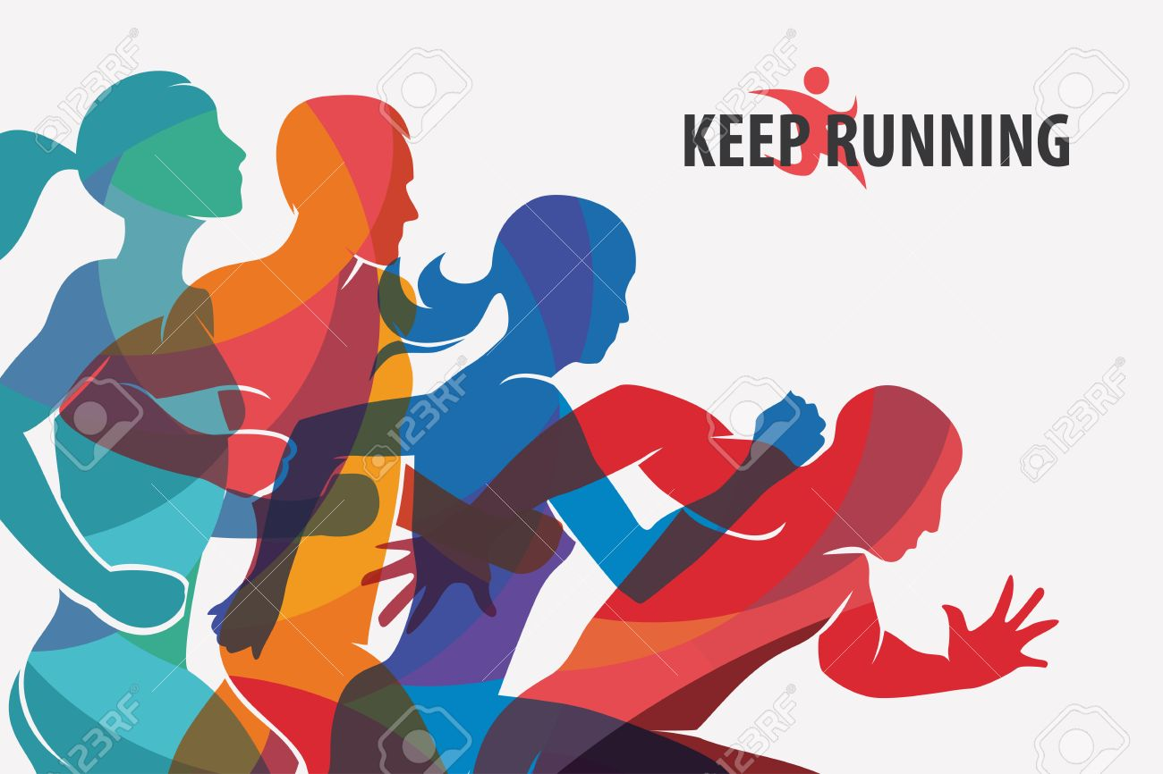 running people set of silhouettes, sport and activity background - 74576157