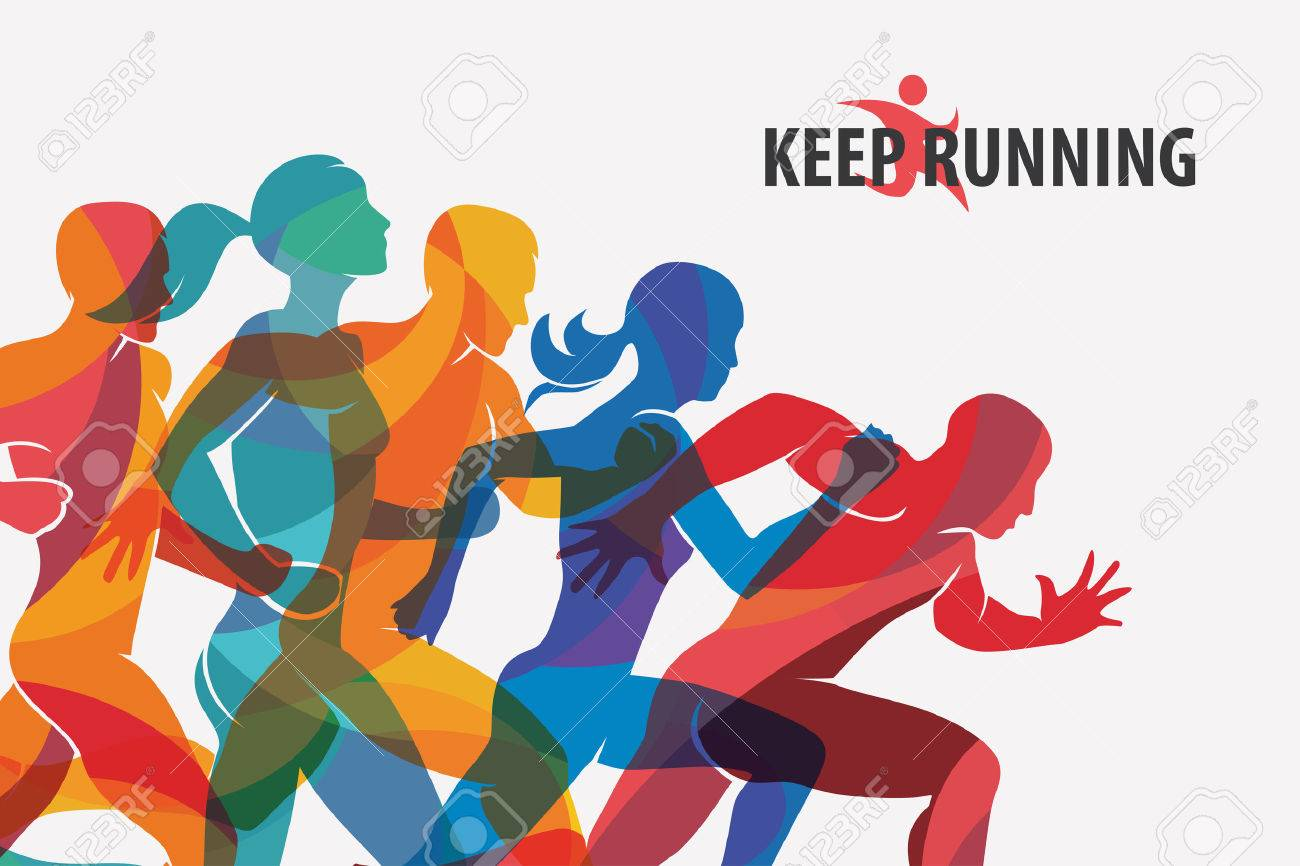 running people set of silhouettes, sport and activity background - 74576158
