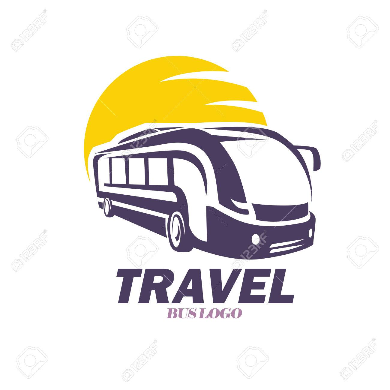 modern bus symbol stylized icon for logo or emblem template royalty