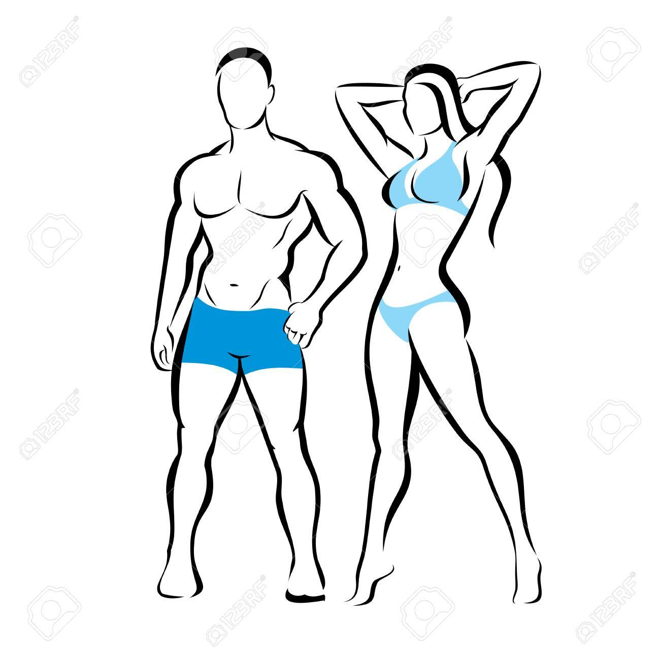 Perfect Body Of Man And Woman Silhouette Fitness Beauty Rh 123rf Com