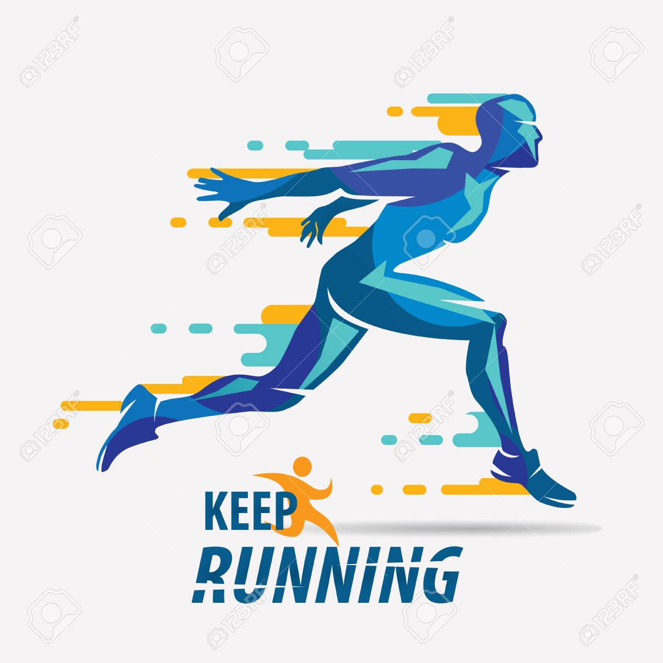 running man vector symbol, sport and competition concept background - 87115248