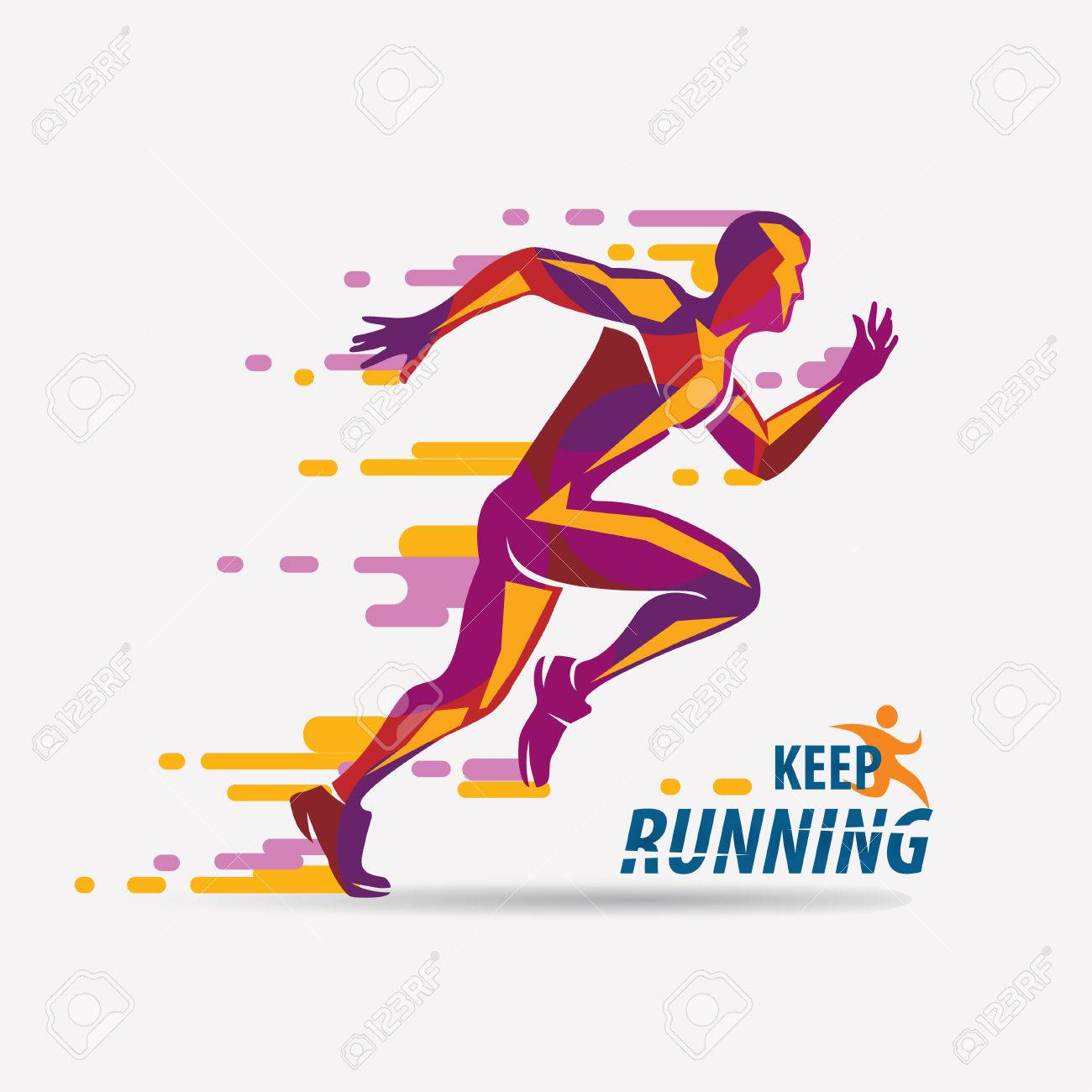 running man vector symbol, sport and competition concept background - 87115252