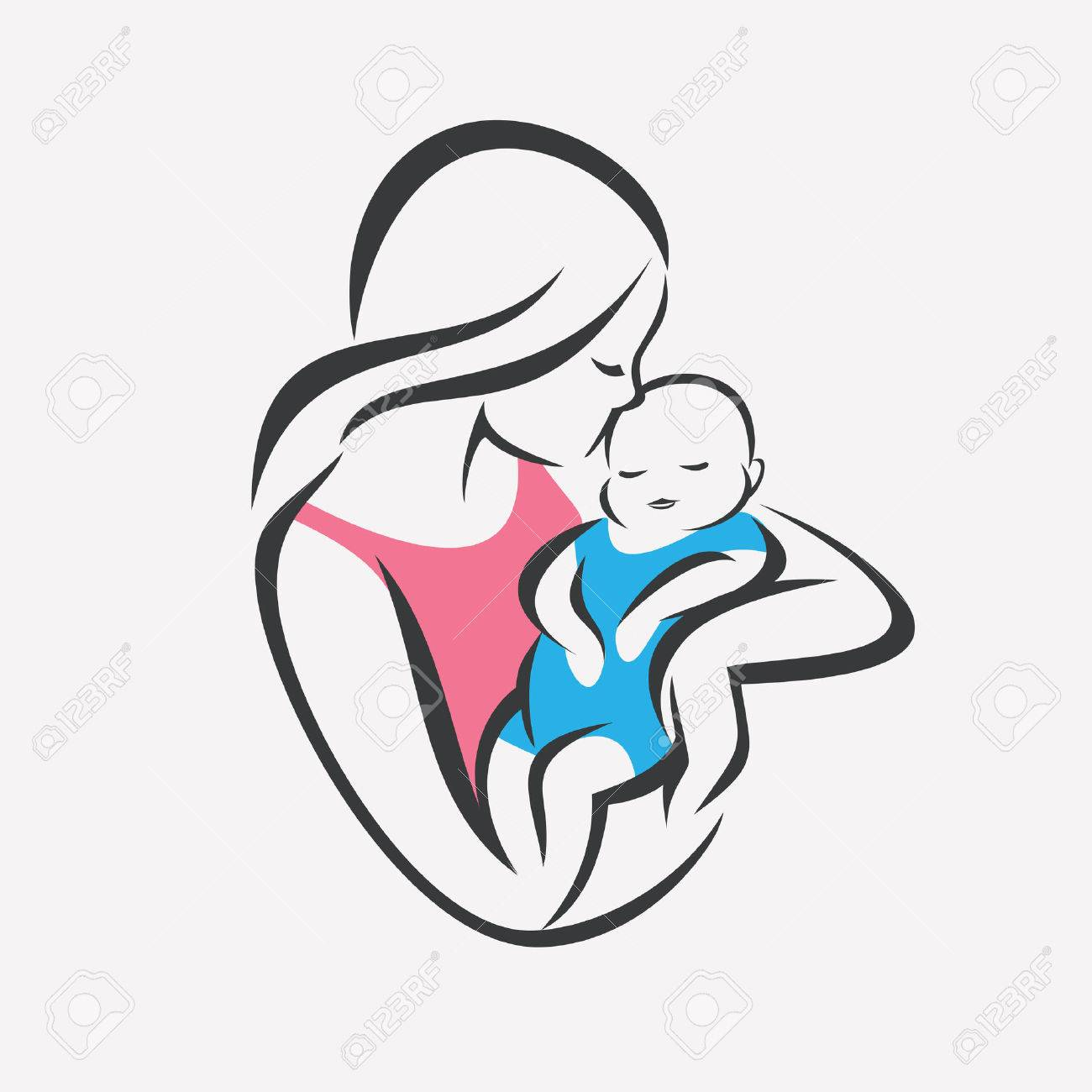 mother and baby stylized vector symbol, mom kiss her child logo template - 87115259