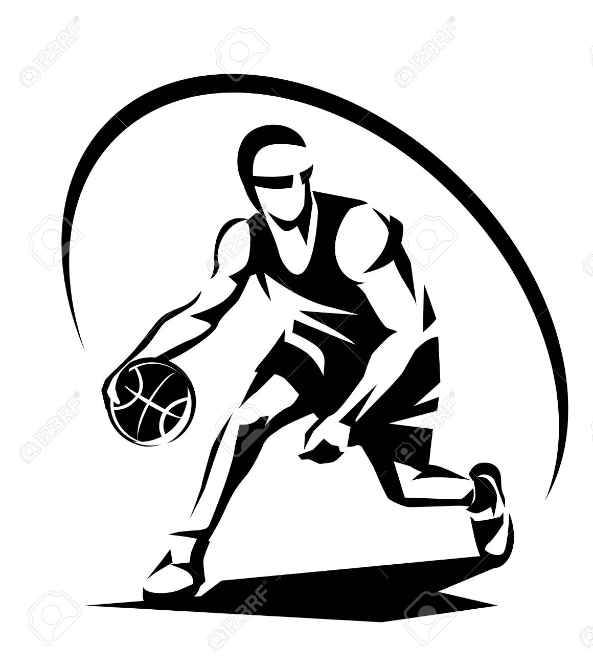 Basketball Player Stylized Vector Silhouette, Logo Template In ...